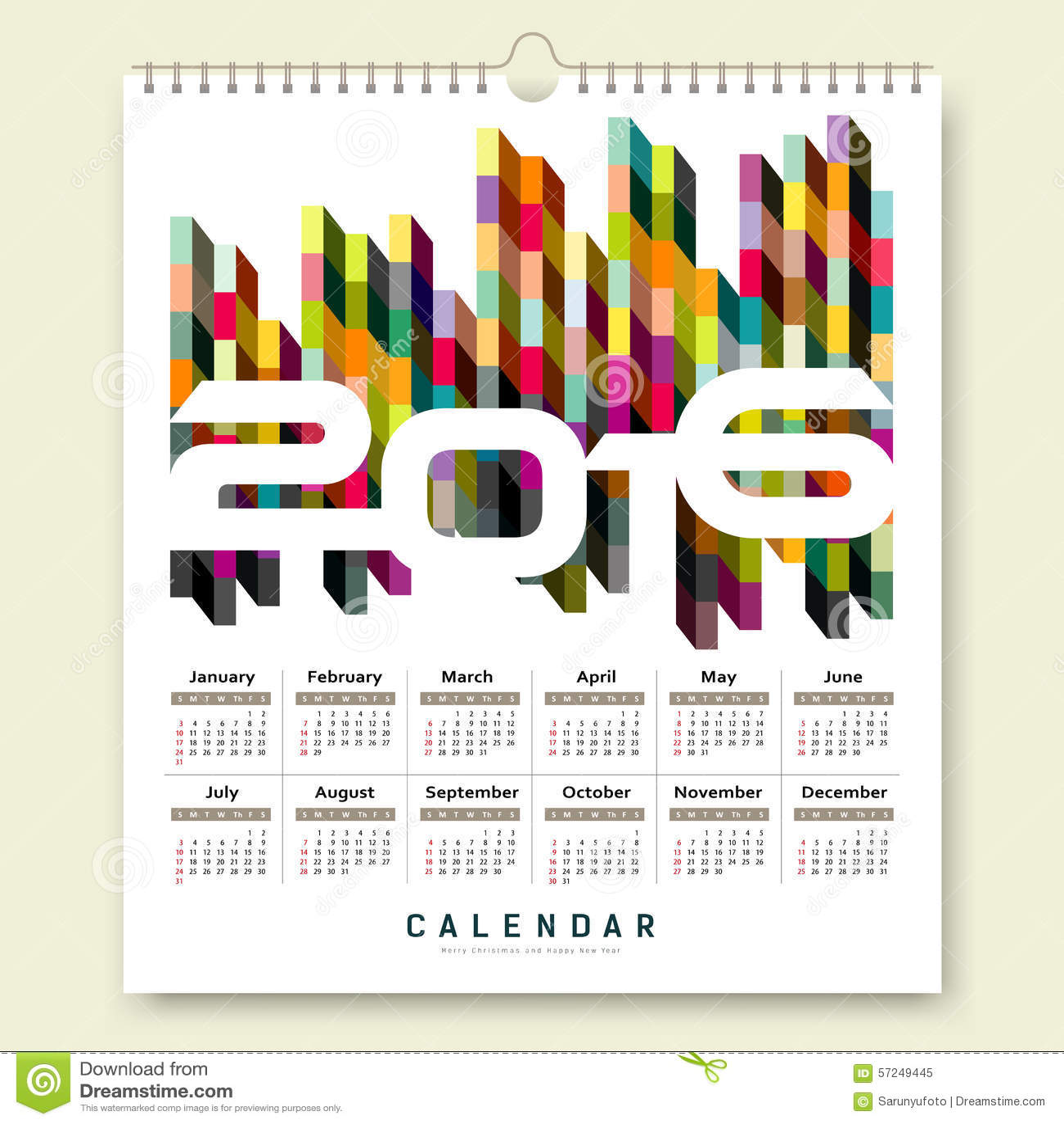 Dise o cuadrado geom trico colorido del calendario 2016 - Disenos de calendarios ...