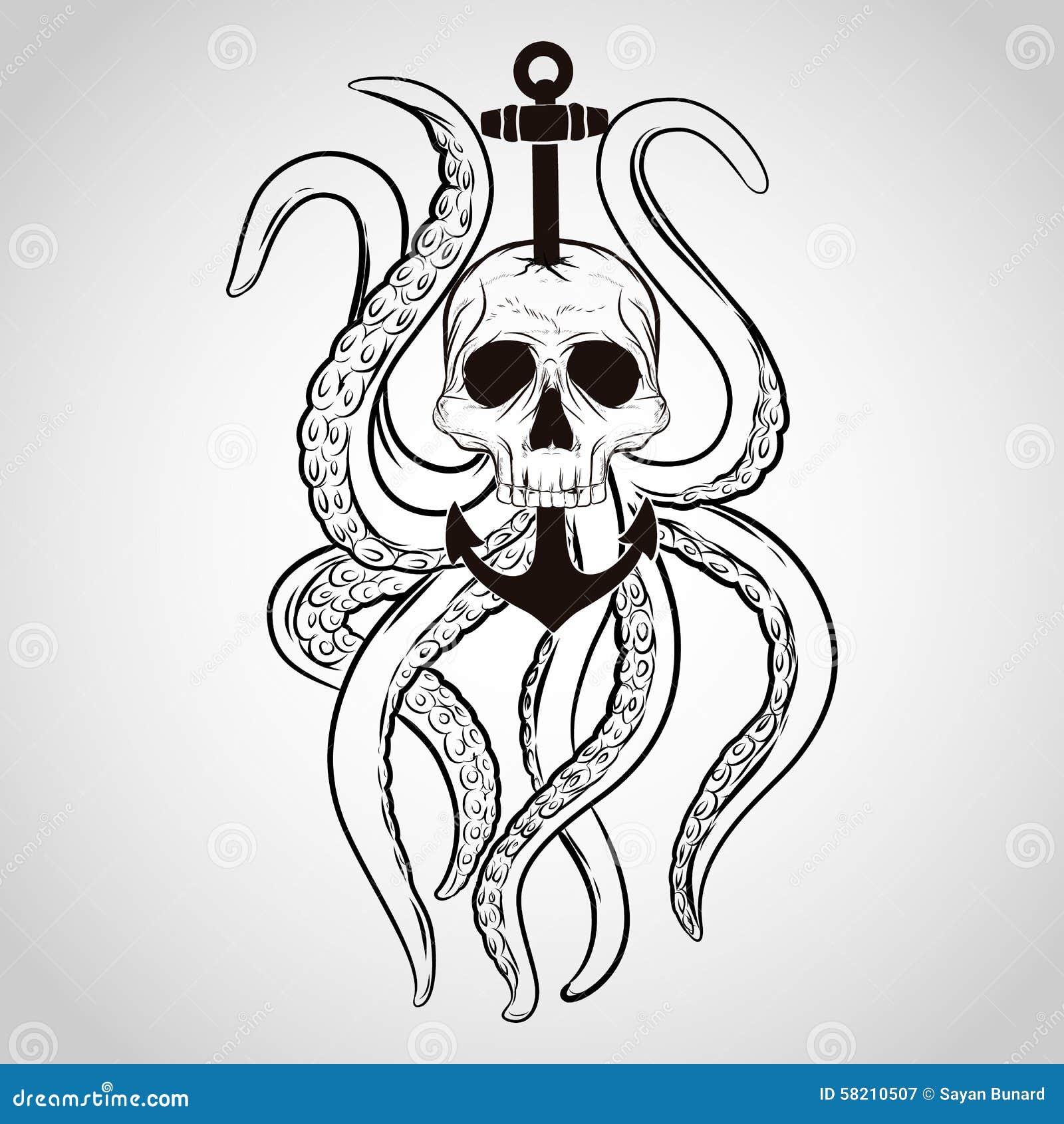 Diseño de la camiseta Cráneo con el pulpo y el ancla en un estilo del tatuaje