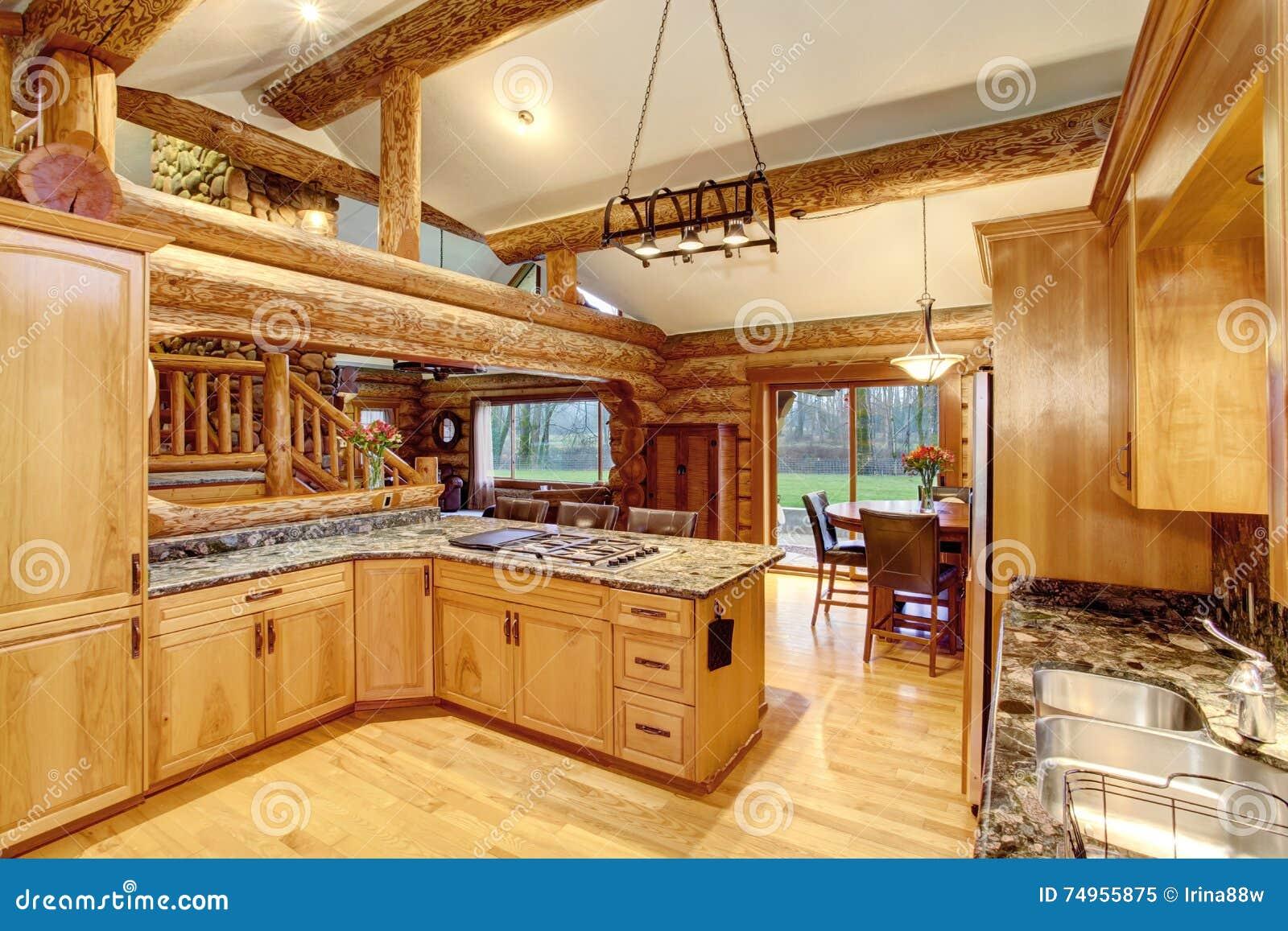 Dise o interior de la cocina de la caba a de madera con for Diseno interior cocina