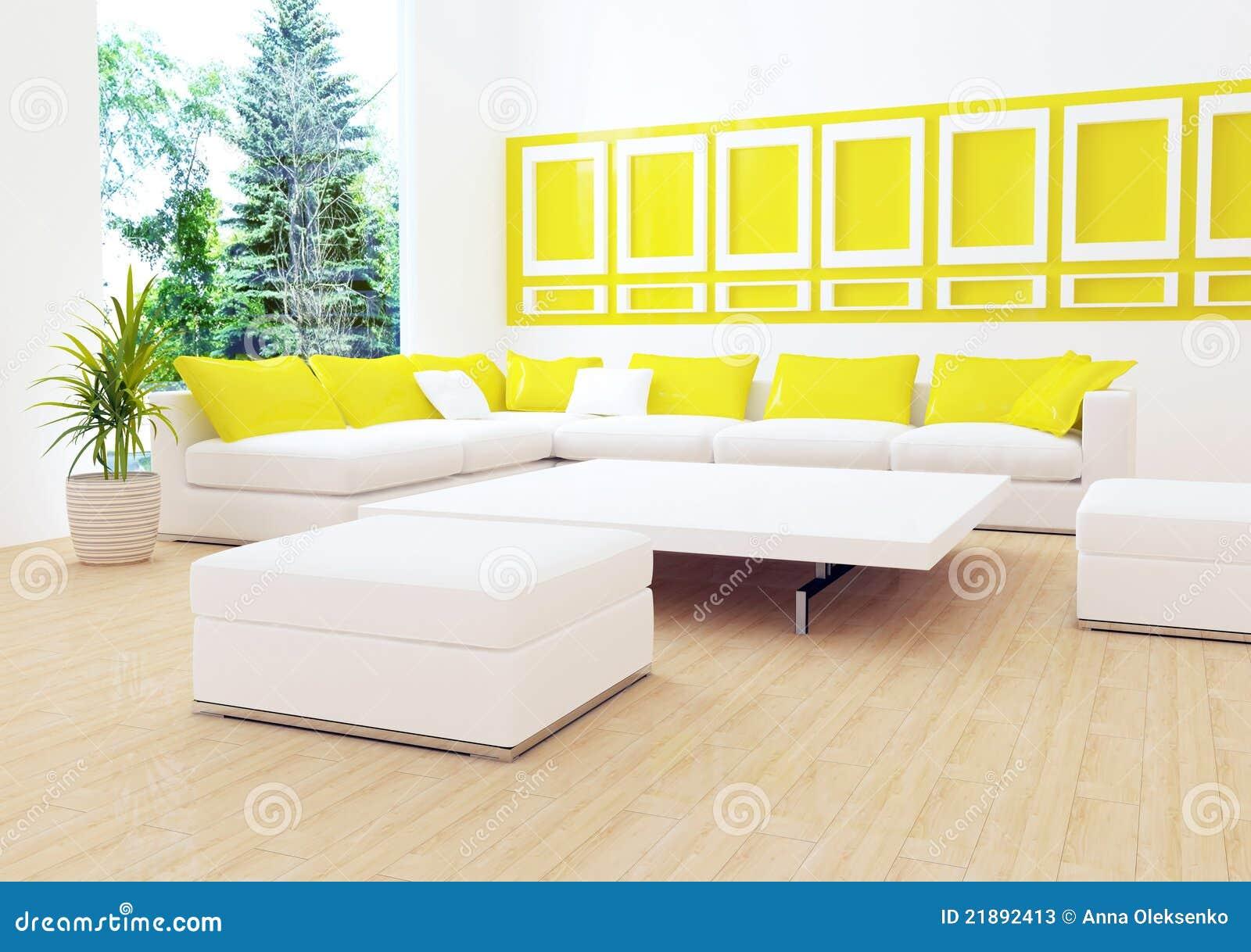 Dise o interior de sala de estar blanca moderna fotos de for Sala de estar moderna grande