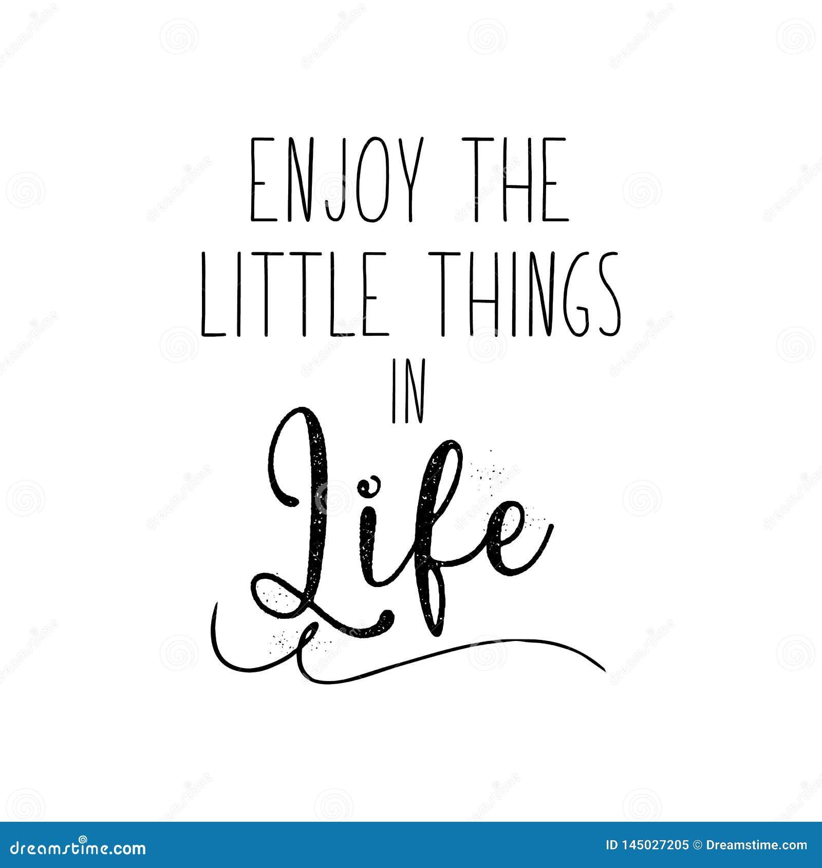 Disfrute de las pequeñas cosas en cita de la vida