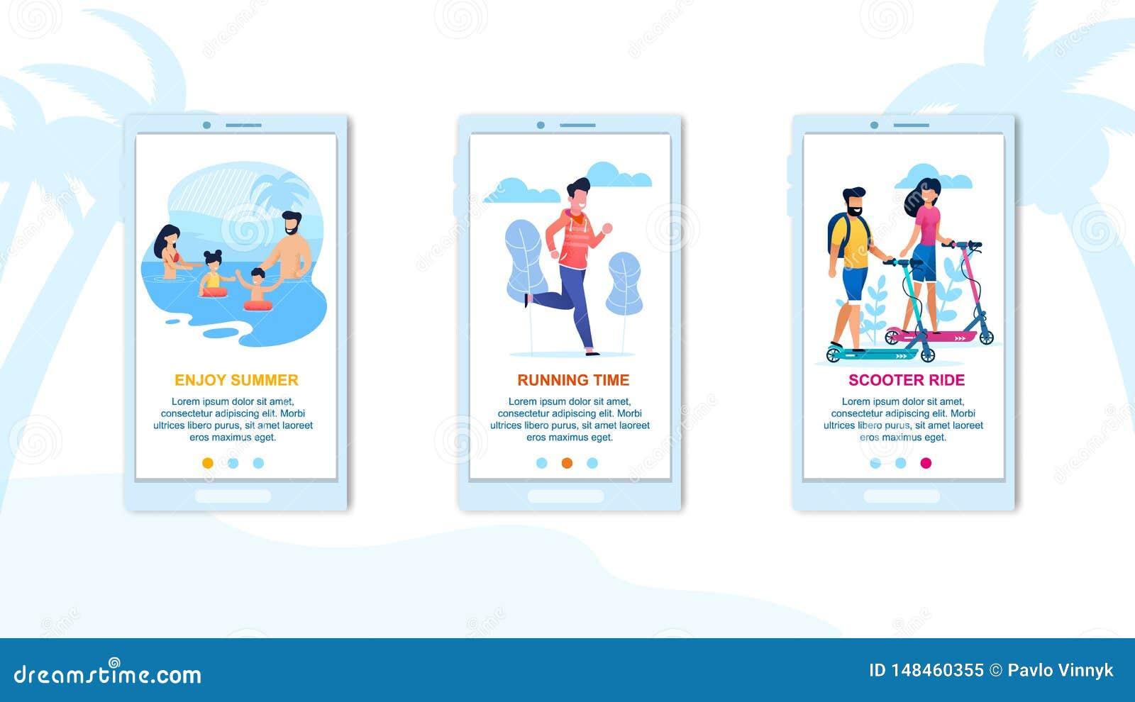 Disfrute del sistema de la página del aterrizaje de la aplicación móvil del verano