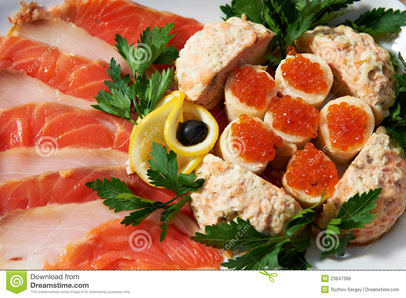 Dish with fish eggs and fish meat royalty free stock image for Is fish considered meat