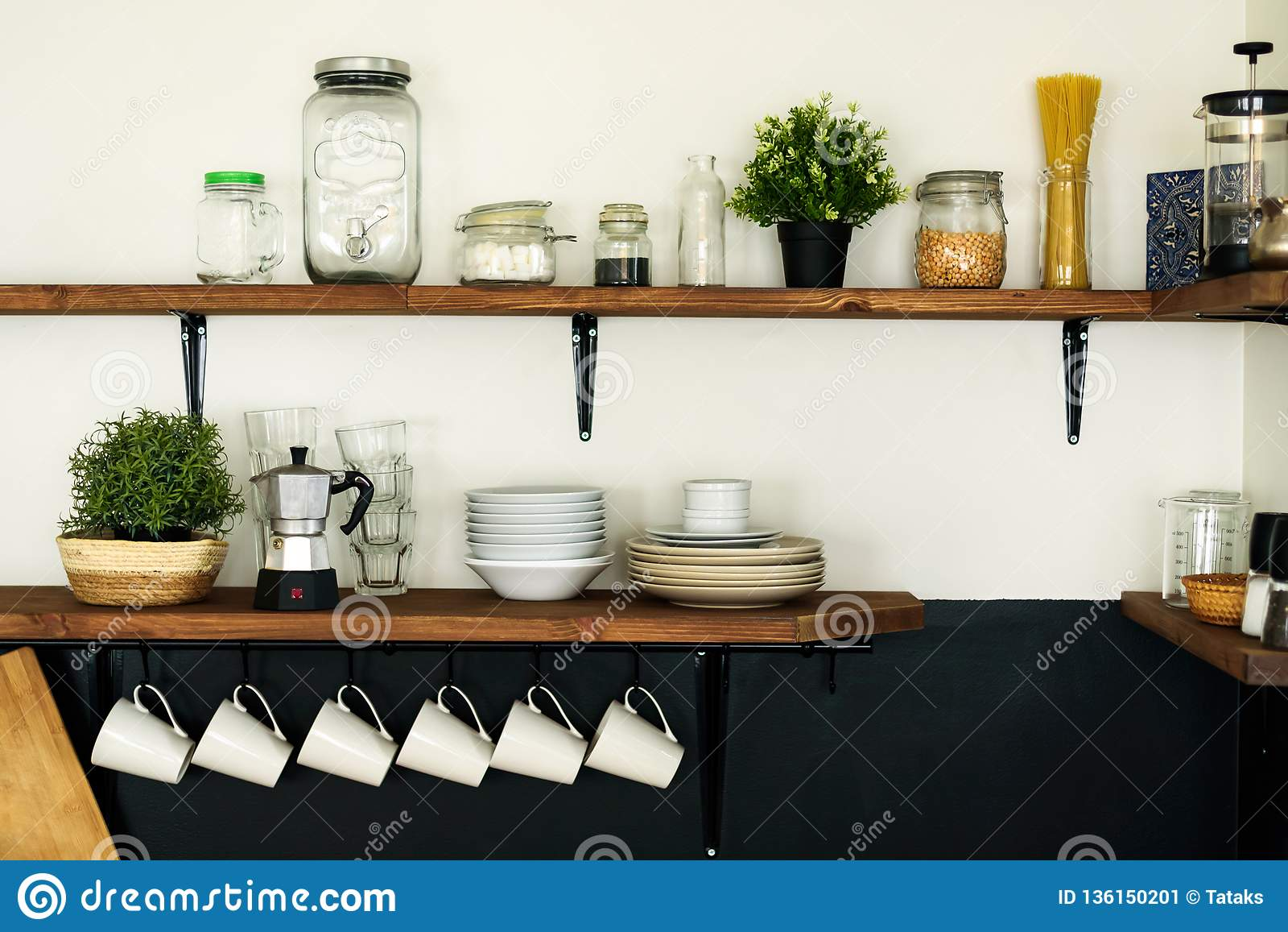 Dish On Open Shelves In Kitchen Stock Image Image Of