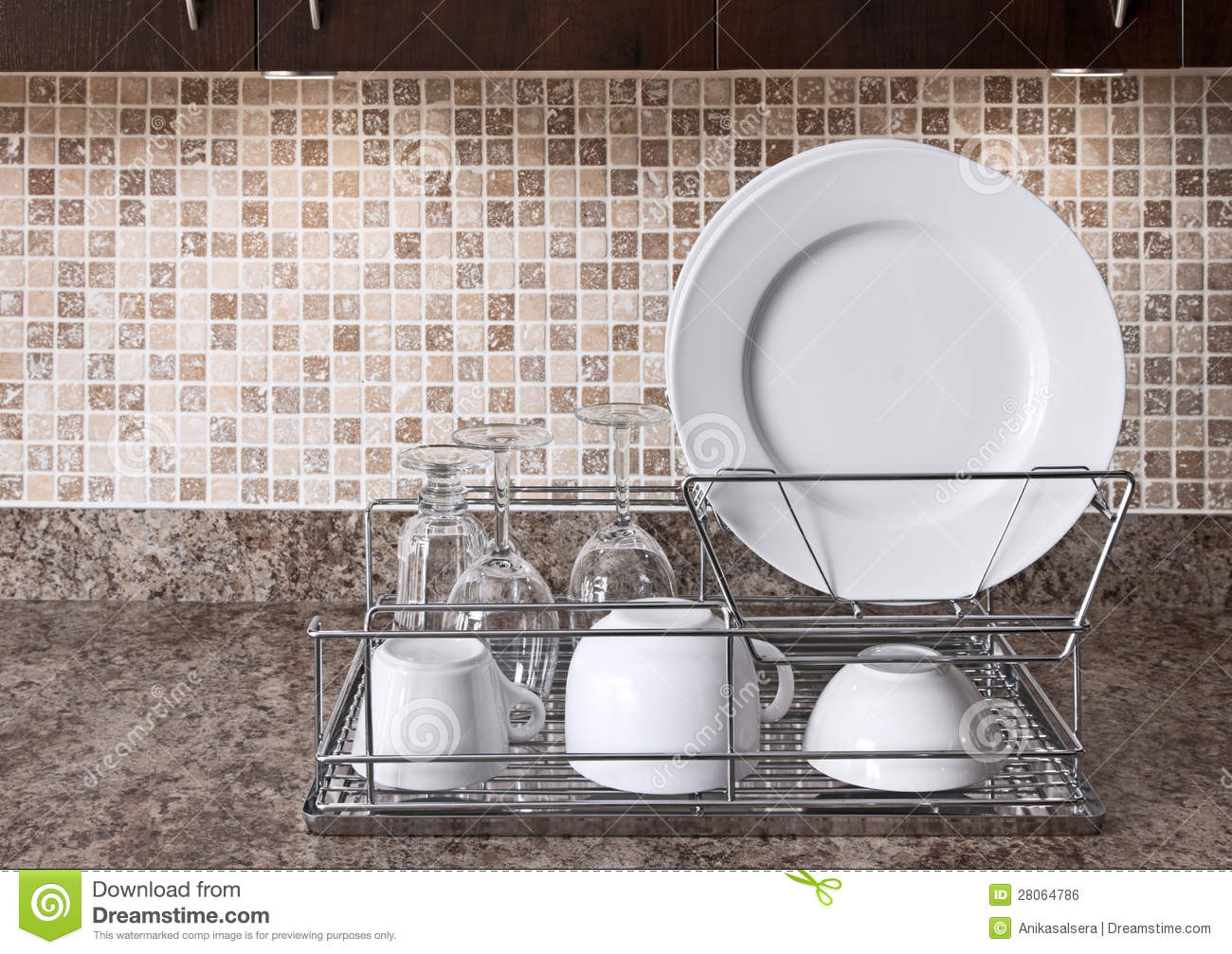 Kitchen Dish Rack Dish Rack On Kitchen Countertop Royalty Free Stock Image Image