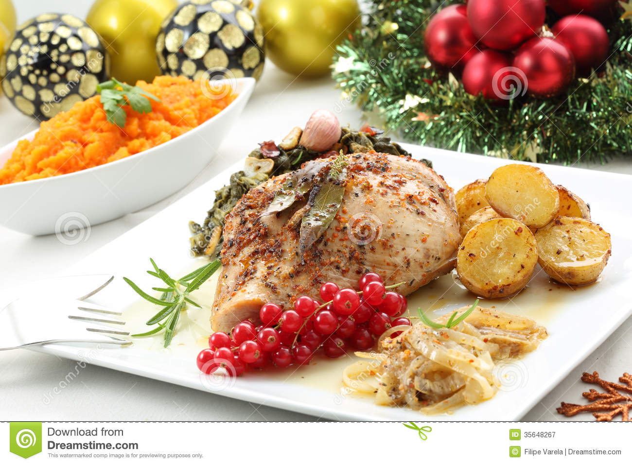 download dish of roasted turkey breast on a christmas table stock image image of cooked - Christmas Dish