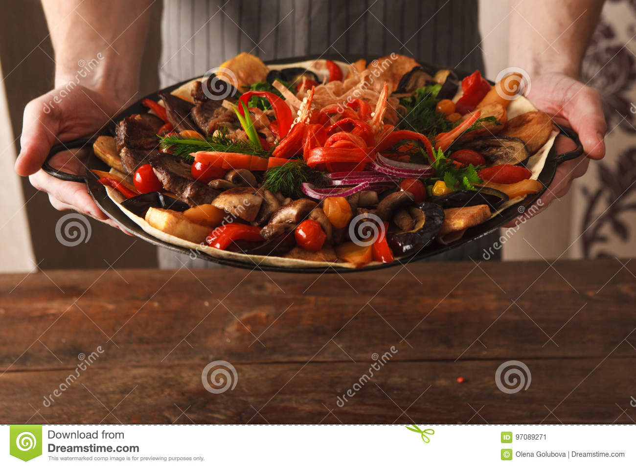 Dish With Stewed Meat And Vegetables On Plate Stock Image Image Of Cuisine National 97089271