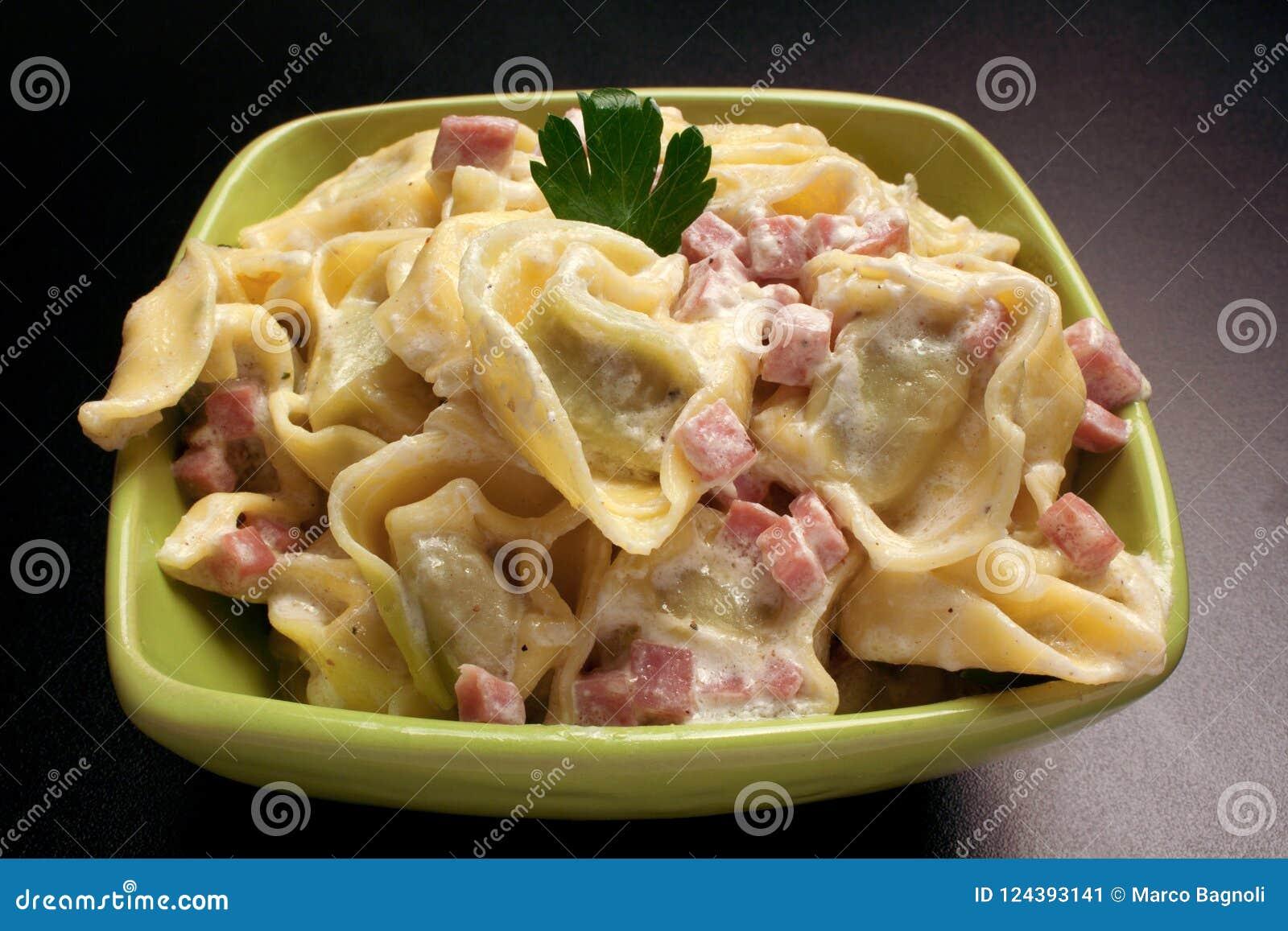 Tortellini With Milk Cream And Ham Stock Image Image Of Pork Cooked 124393141