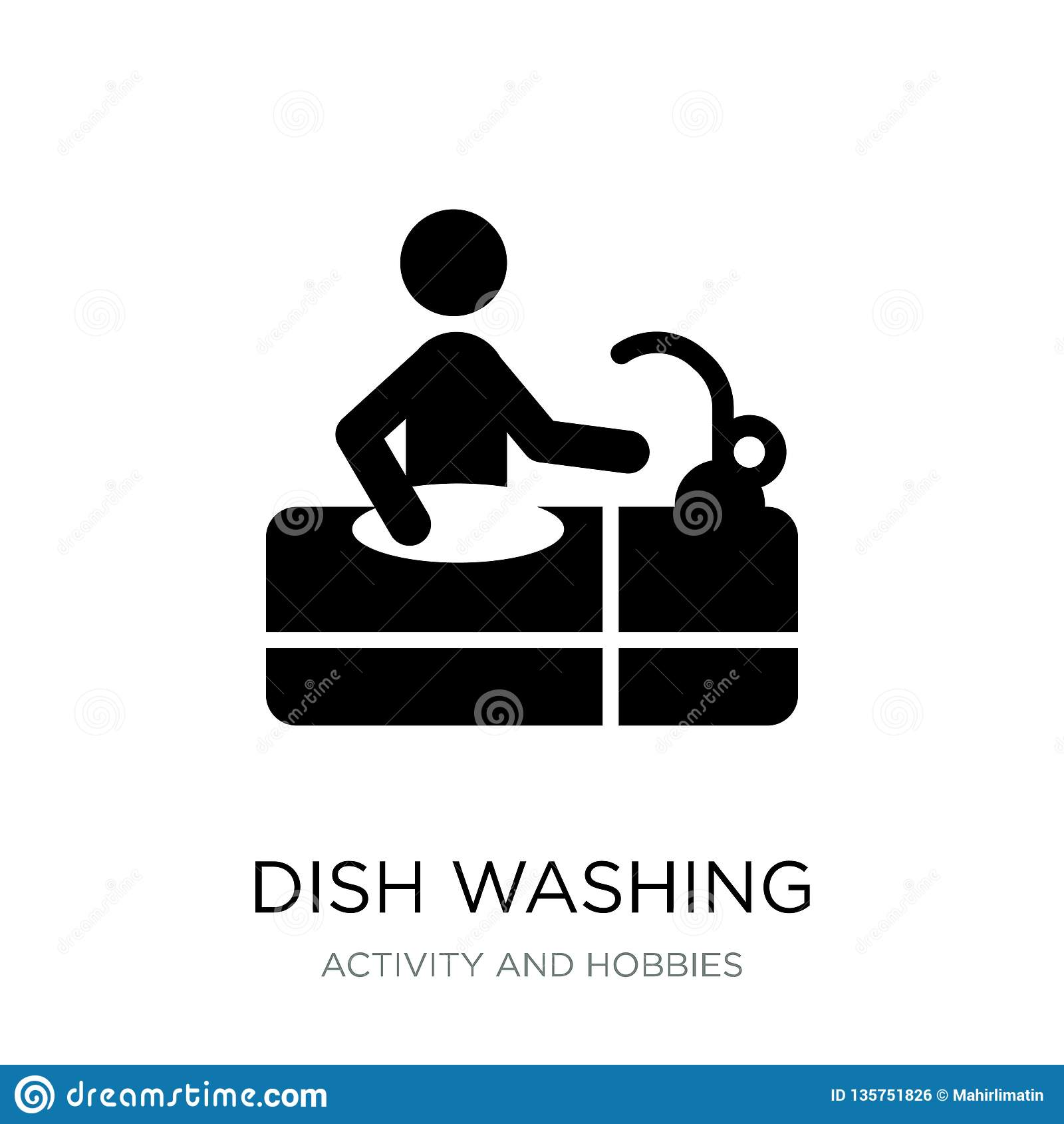 dish washing icon in trendy design style. dish washing icon isolated on white background. dish washing vector icon simple and