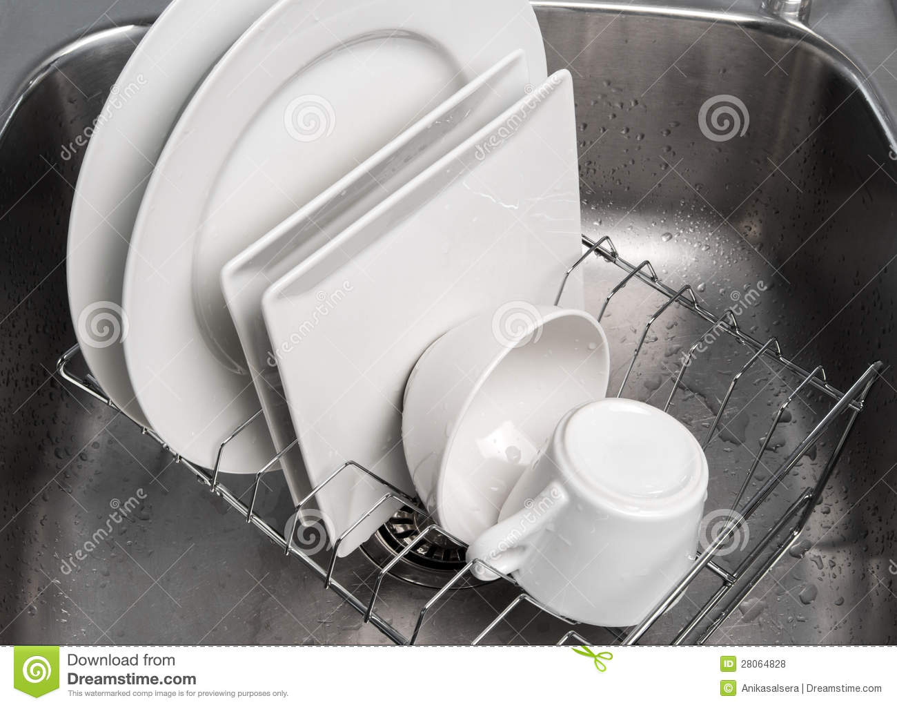 Kitchen Sink With Clean Dishes clean dishes on kitchen sink royalty free stock images - image