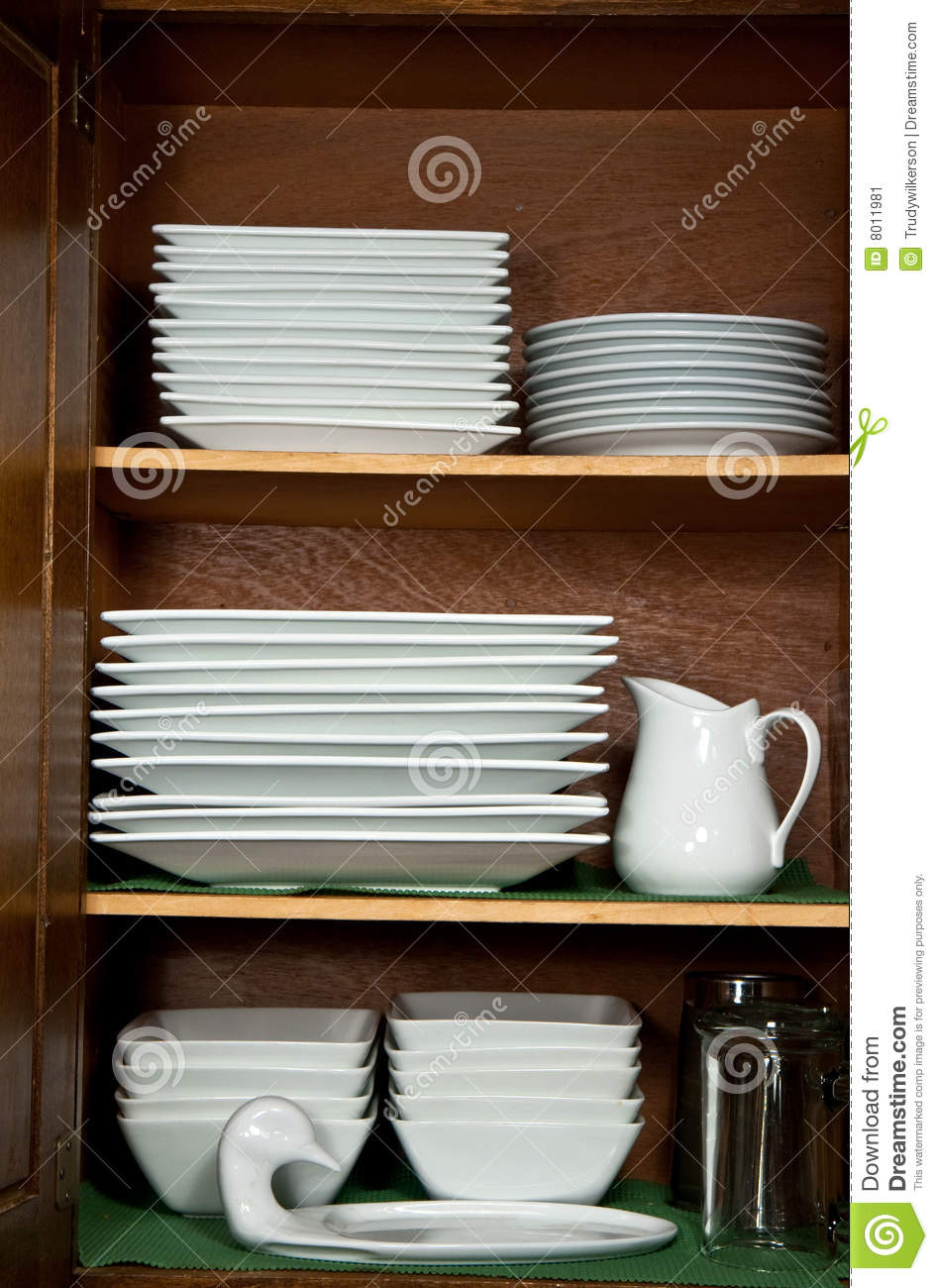 Dishes In Kitchen Cabinet Stock Image Image 8011981