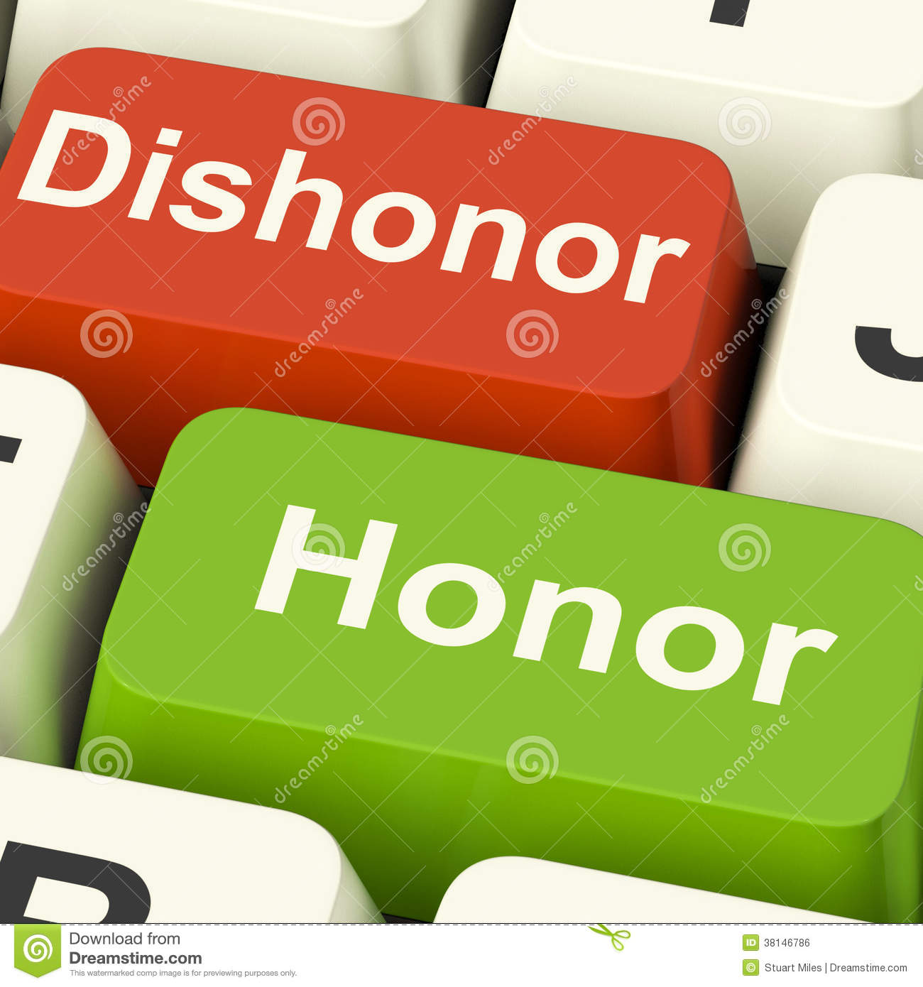 dishonor honor keys shows integrity and morals stock illustration