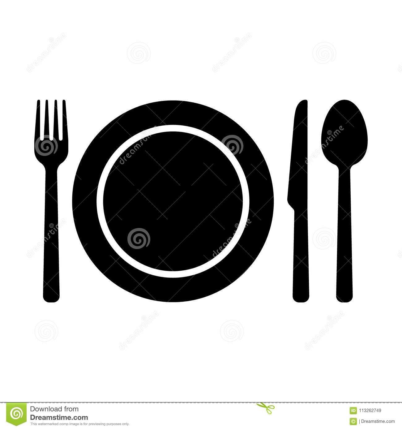 Dishware Symbol Icons Fork Spoon Knife And A Plate Icons Stock