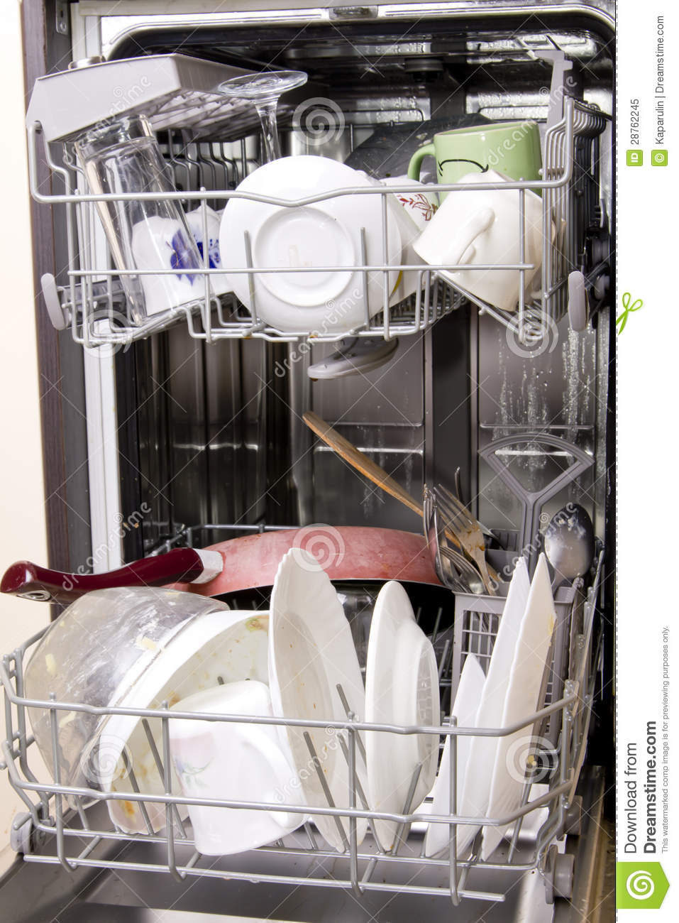 Dishwasher With Dirty Dishes Royalty Free Stock Photo ...
