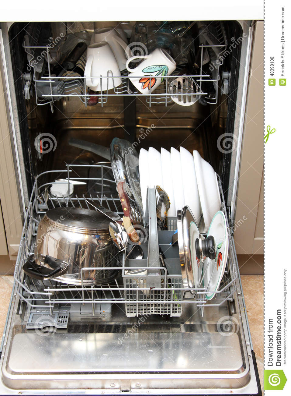 Dishwasher With Dirty Dishes Stock Photo - Image of ...