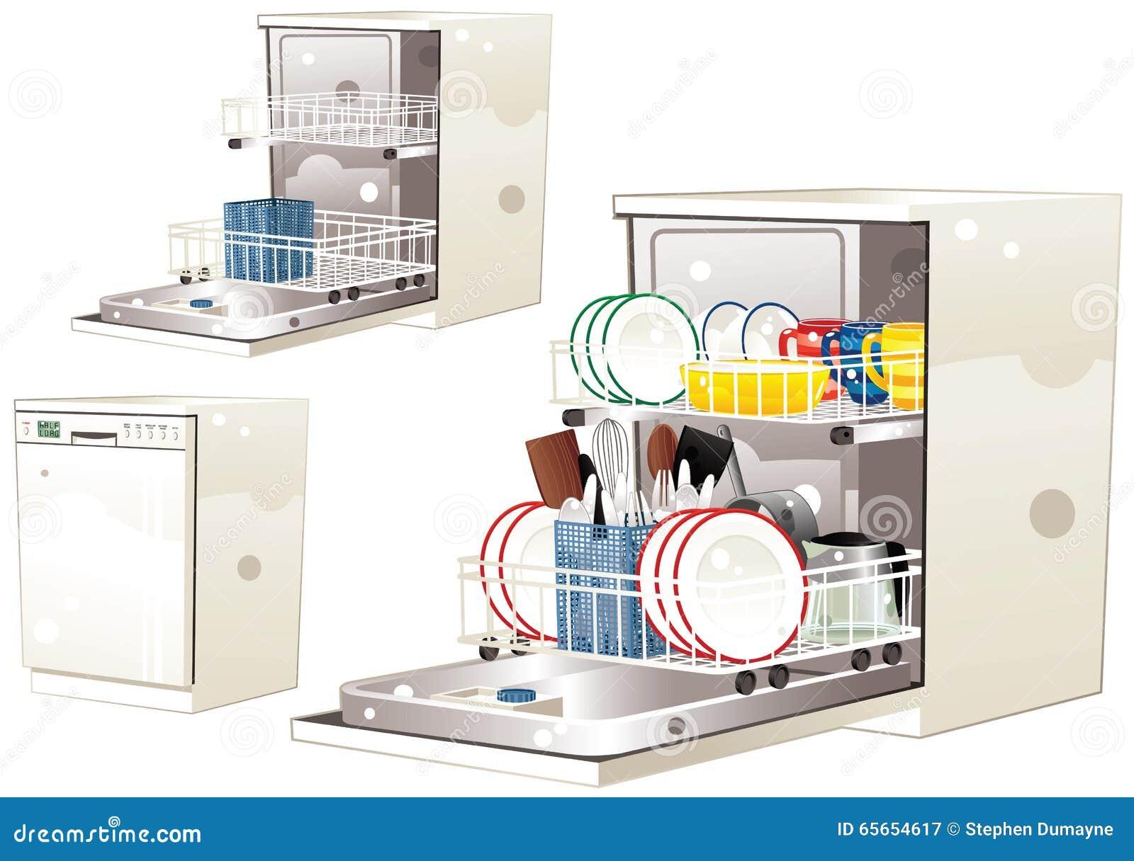 Dishwasher Clip Art ~ Dishwasher stock vector illustration of dishware