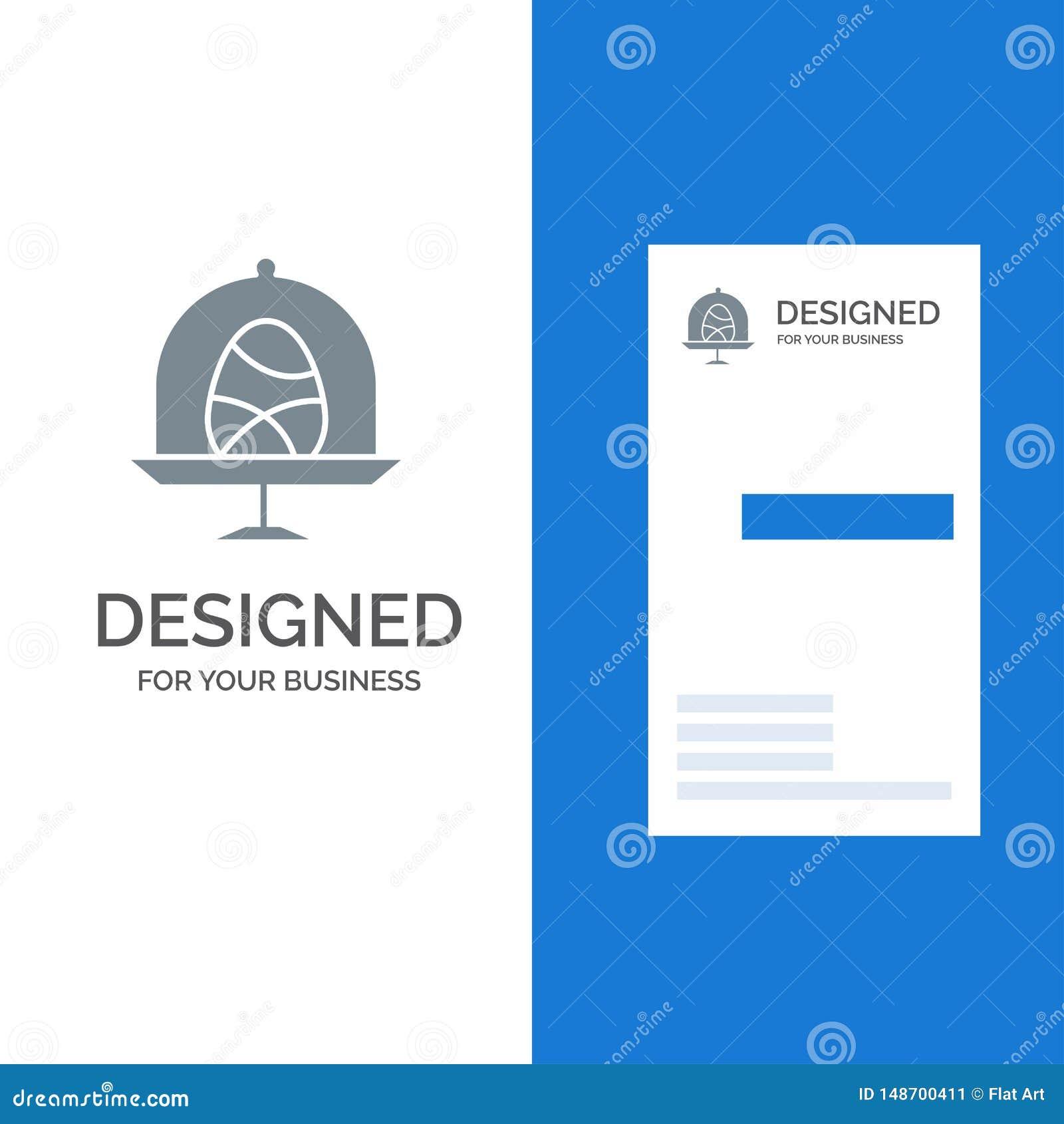 Disk, Egg, Food, Easter Grey Logo Design and Business Card Template