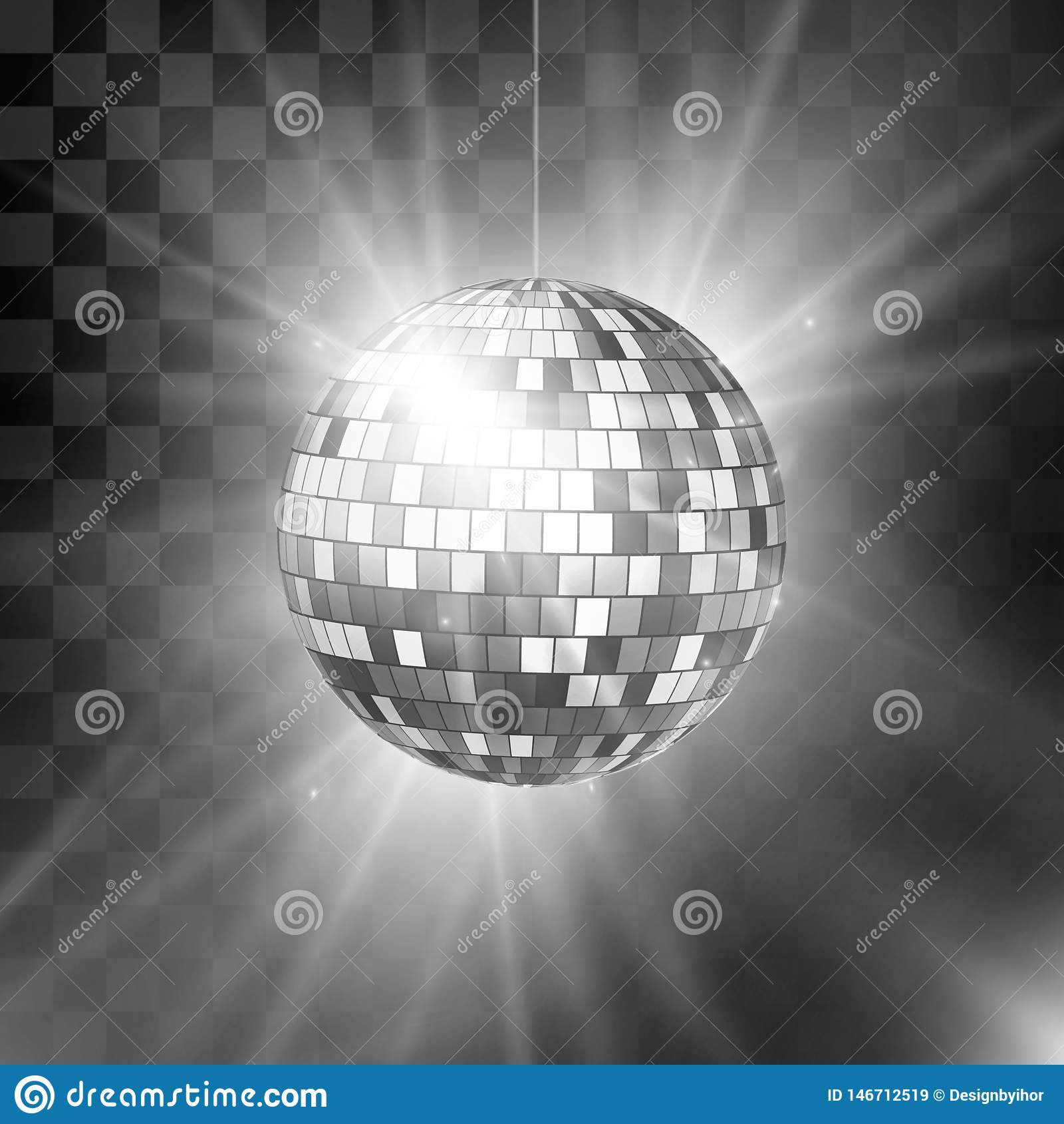 Diskoboll med ljus str?lar och bokeh Bakgrund f?r musik- och dansnattparti Bakgrunds80-tal och 90-tal f?r abstrakt nattklubb retr