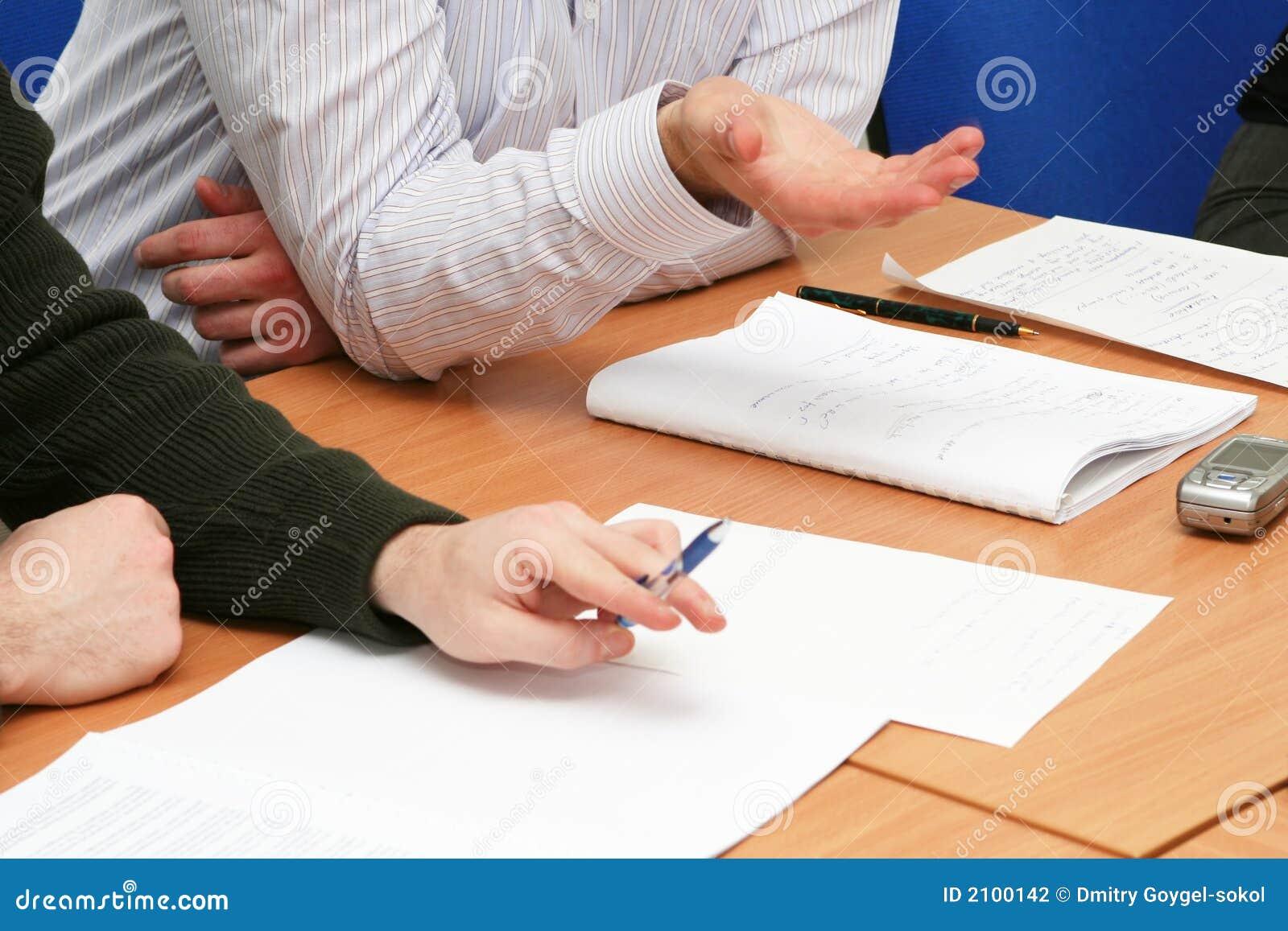 Diskussion auf der Sitzung