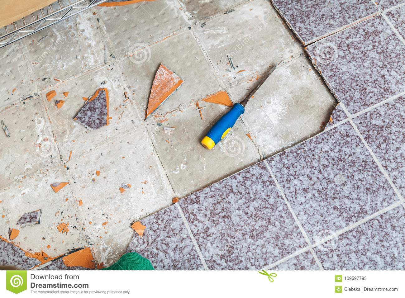 Repair Of Square Tiles On The Floor Stock Image Image Of Thickness Worker 109597785