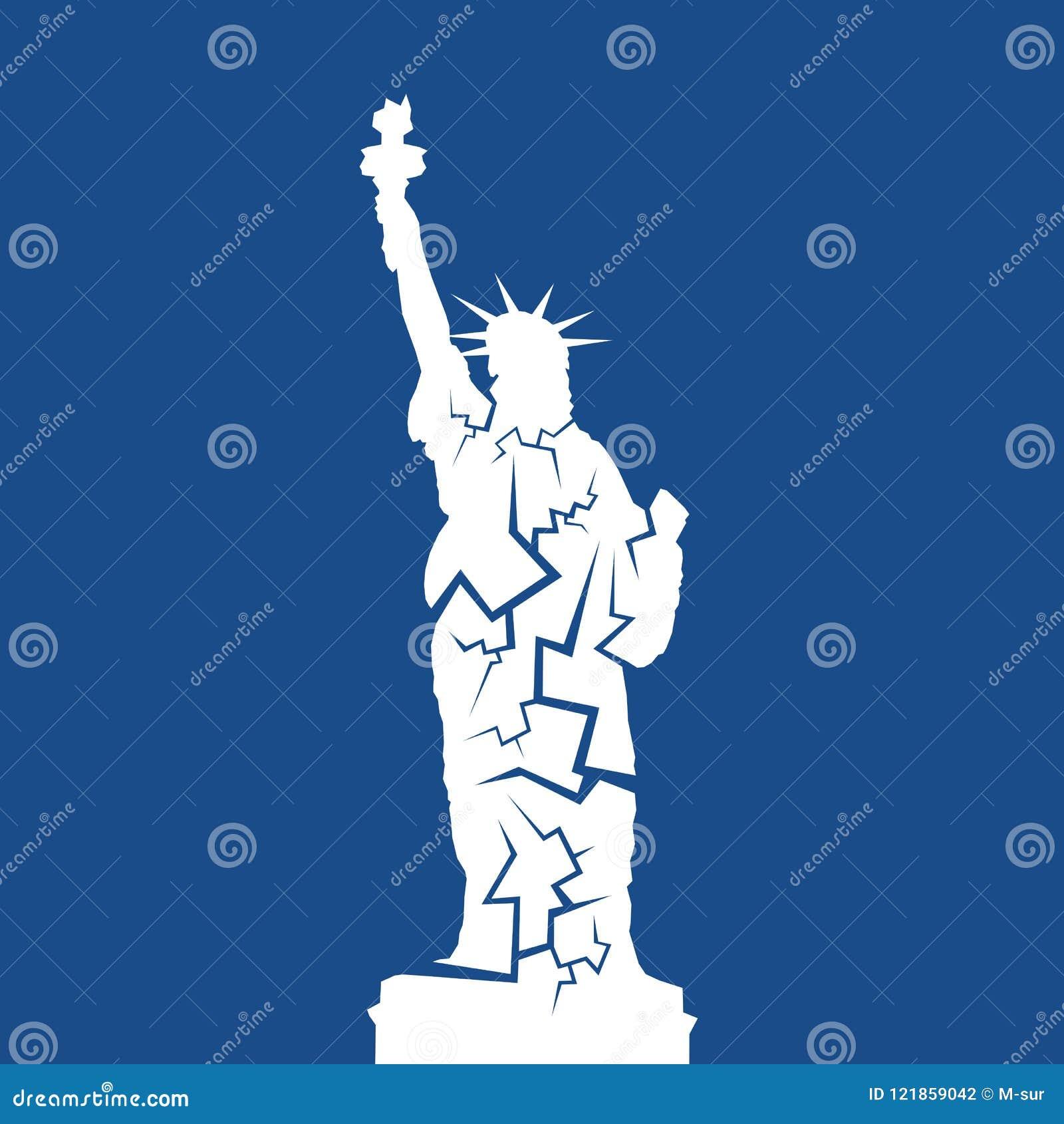 Disminuya el decaimiento, los problemas y el fracaso llevando al hundimiento de la señal de los E.E.U.U. y de los Estados Unidos