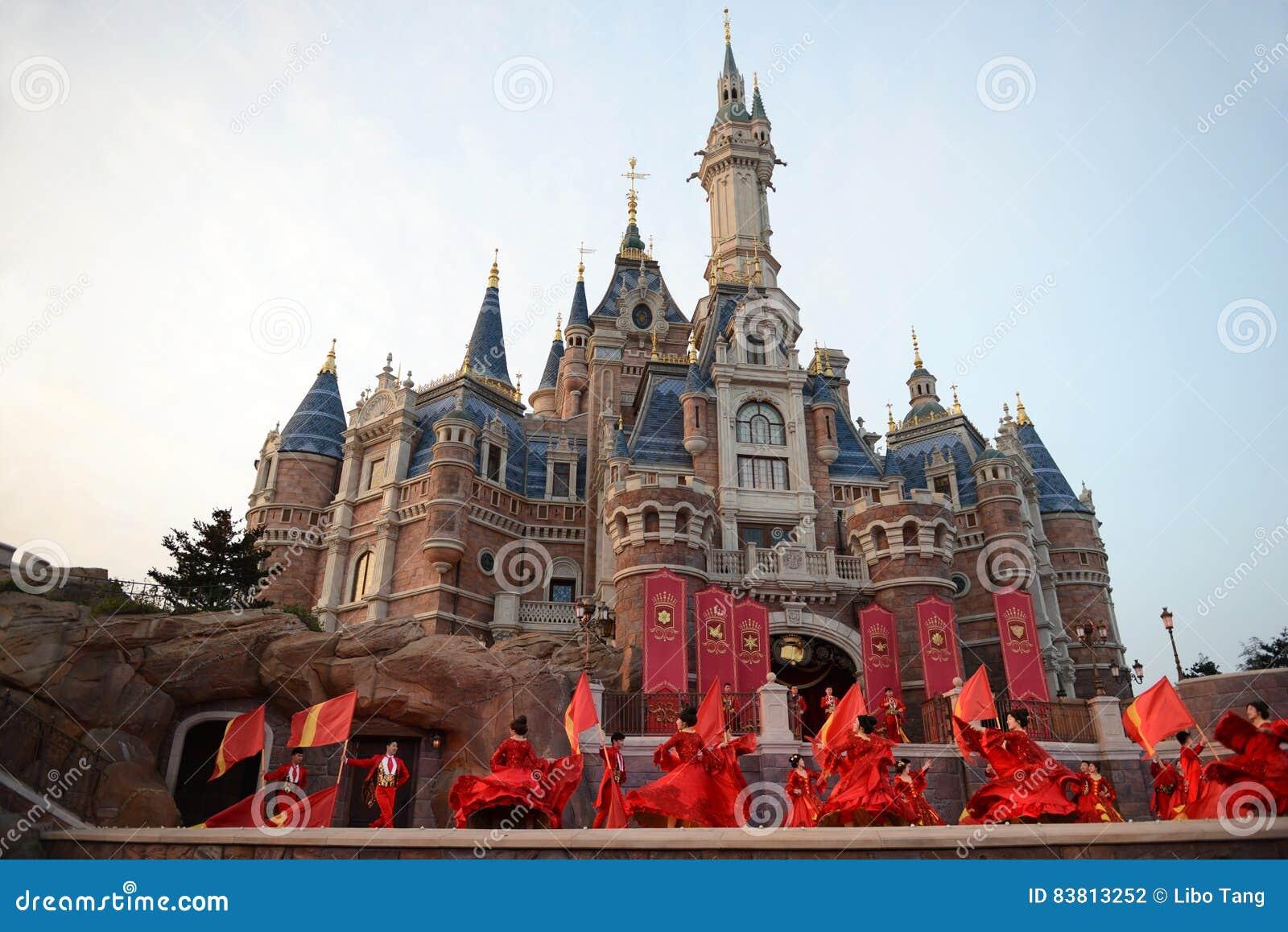 disney castle in shanghai editorial photography image of cartoon