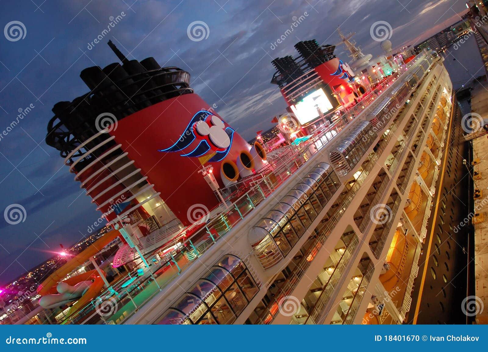 Disney cruise ship at night