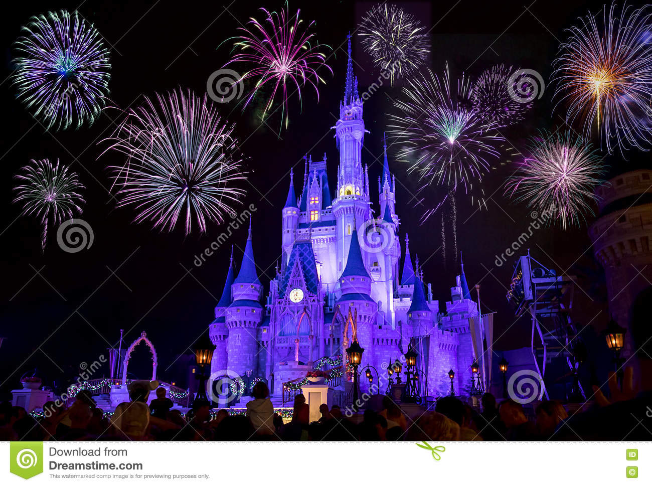 disneys cinderella castle with fireworks editorial