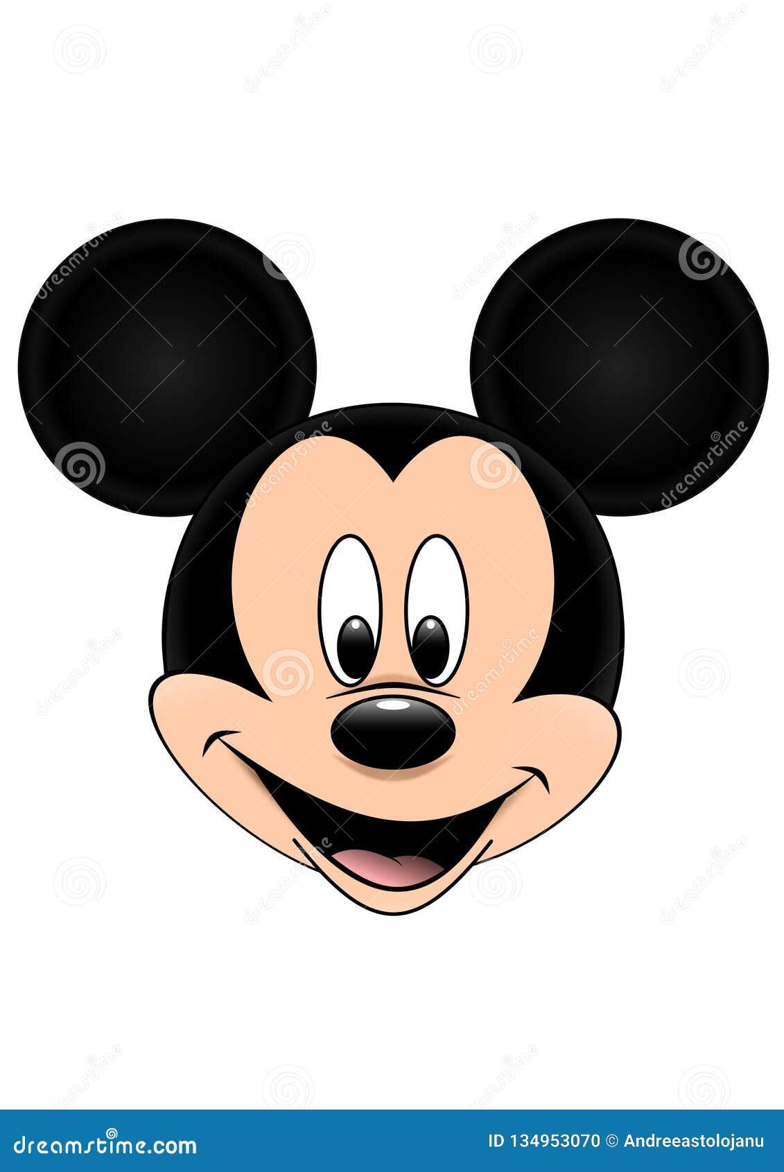 Disney-Vektorillustration von Mickey Mouse lokalisierte auf weißem Hintergrund