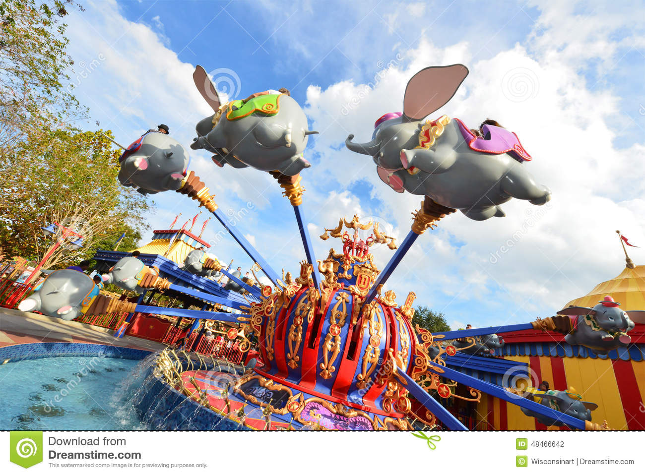 Disney World Florida Travel Dumbo Ride Editorial Photography Image