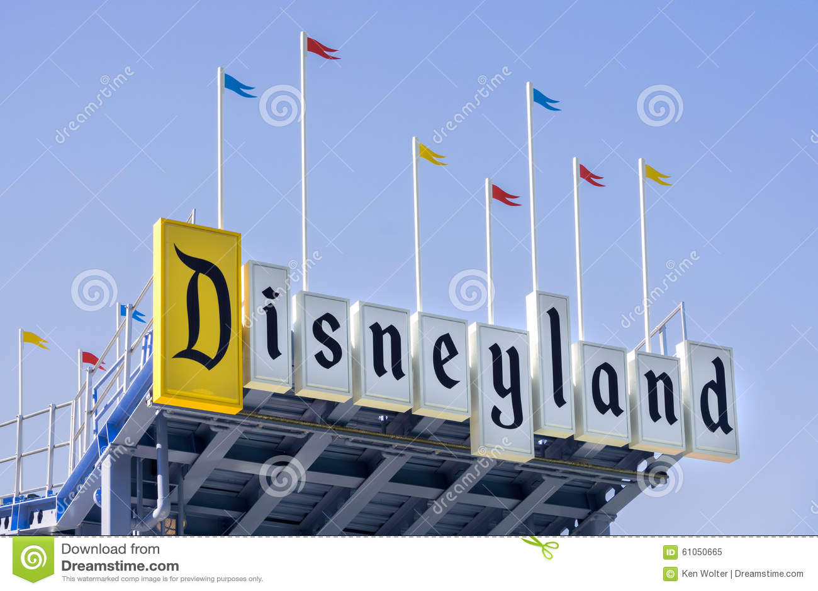 Disneyland Entrance Sign Editorial Image Image 61050665