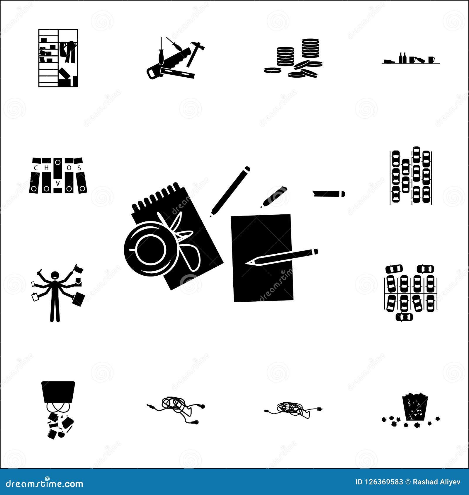 Disordine sull icona della tavola insieme universale delle icone di caos per il web ed il cellulare