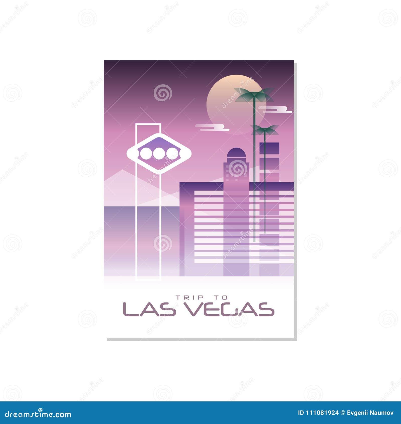 Dispare a Las Vegas, plantilla del cartel del viaje, tarjeta de felicitación turística, ejemplo para la revista, presentación del