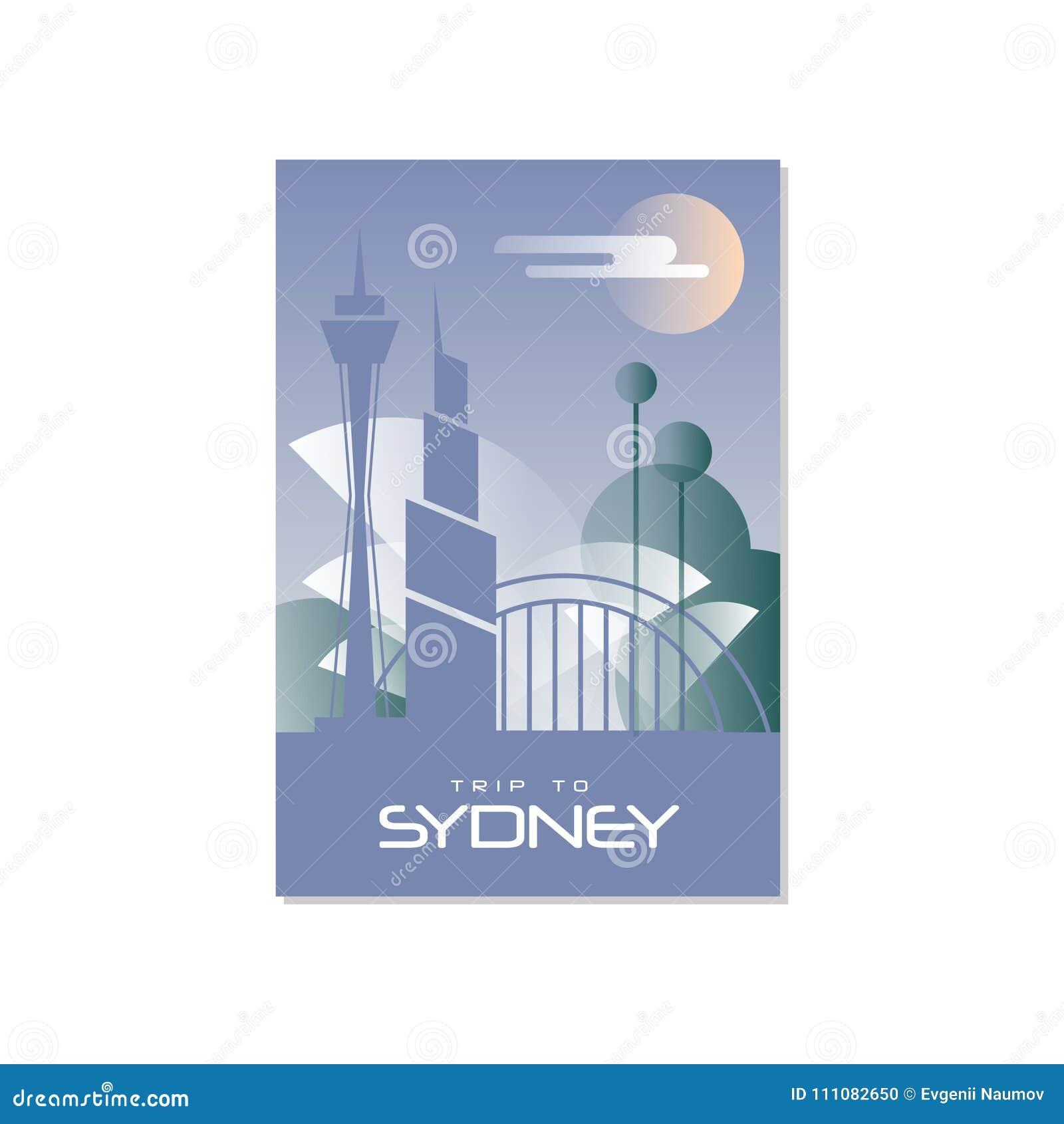 Dispare A Sydney, Plantilla Del Cartel Del Viaje, Tarjeta De ...