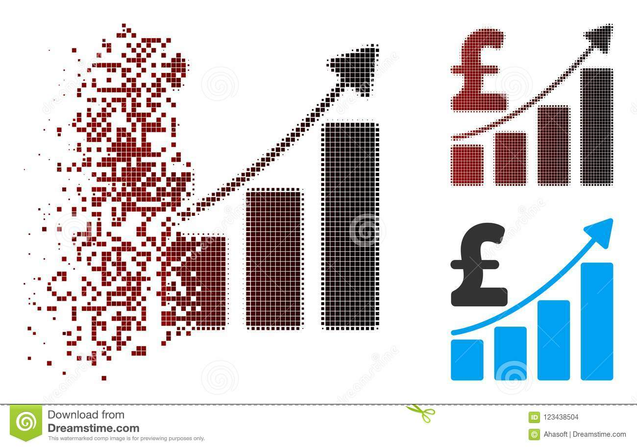 Dispersed Pixel Halftone Pound Sales Growth Chart Icon Stock Vector