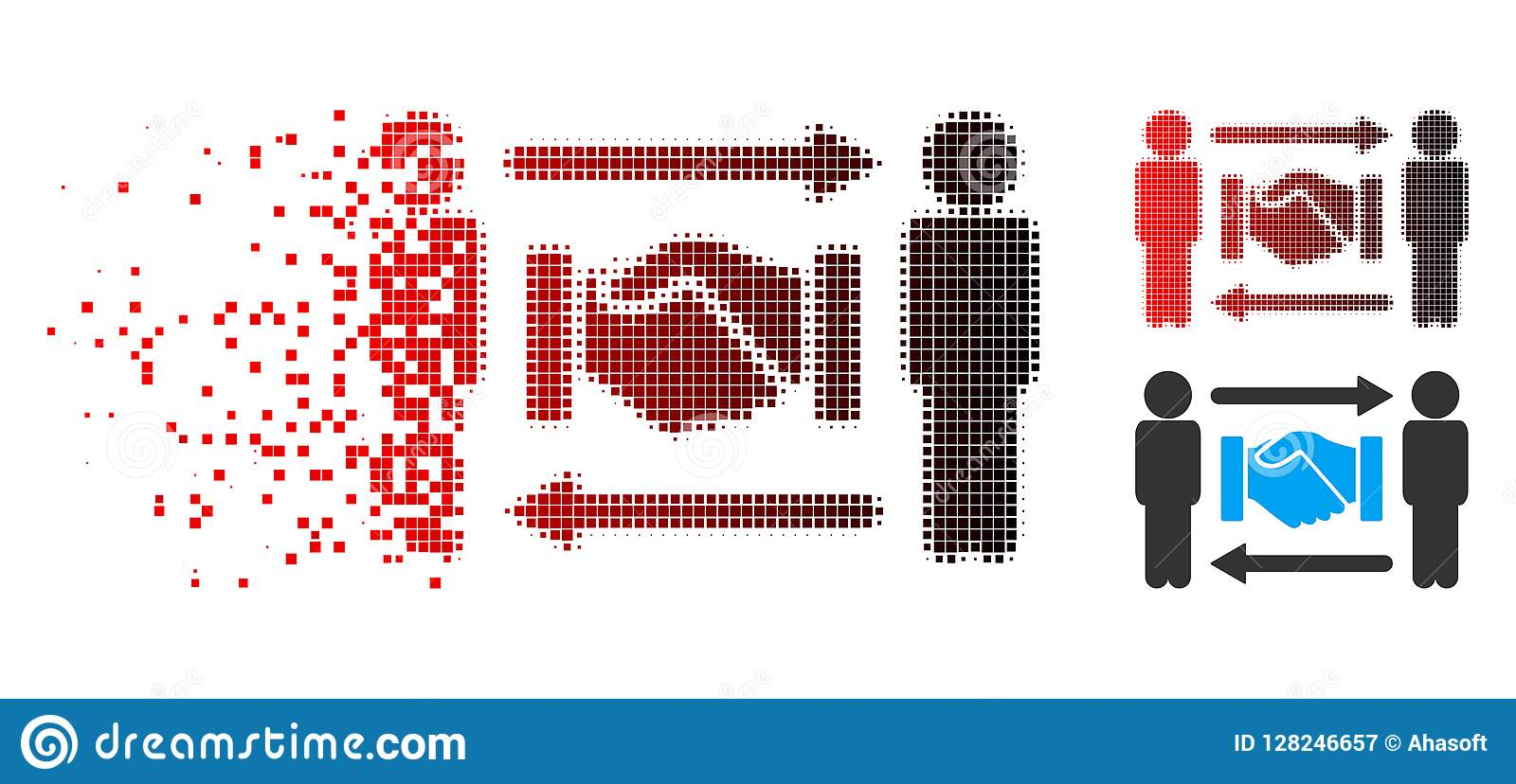 Dispersed Pixelated Halftone Marker Position Icon Stock