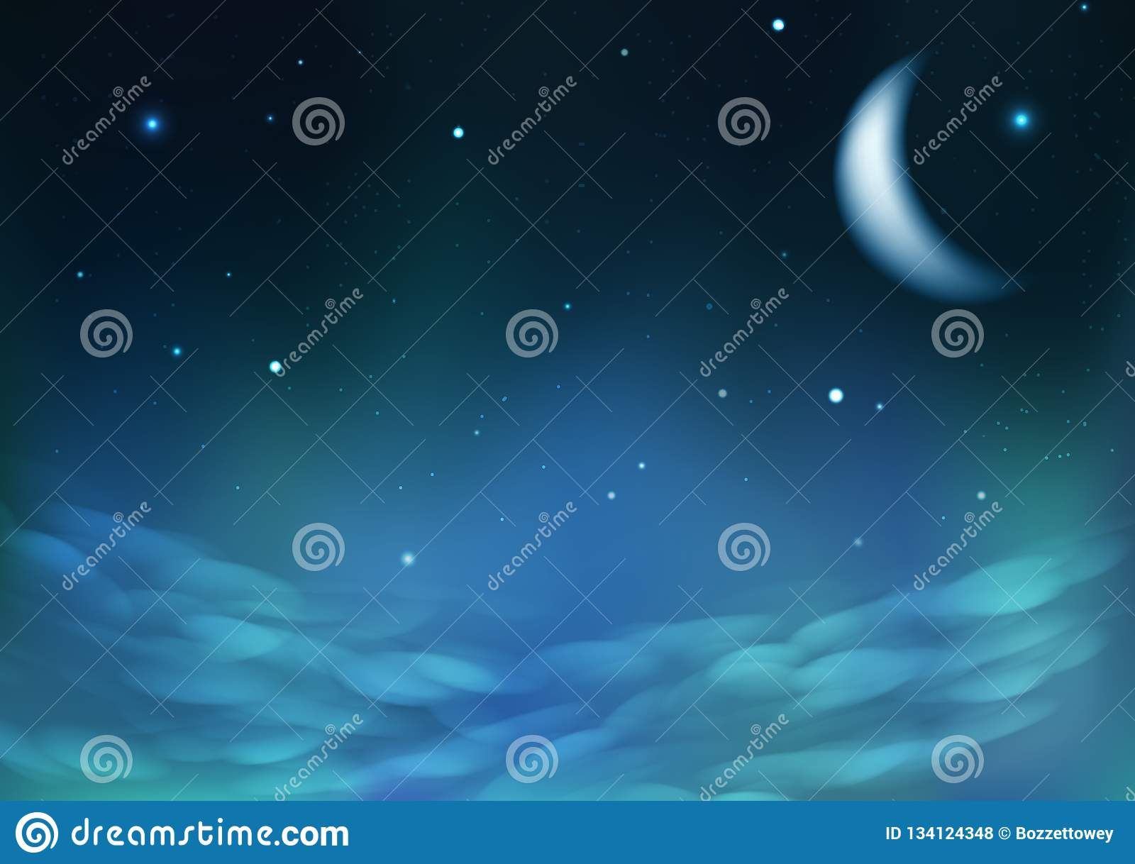 Dispersion étoilée sur le ciel nuageux de nuit avec la lune, illustration de vecteur de fond d abrégé sur concept de constellatio