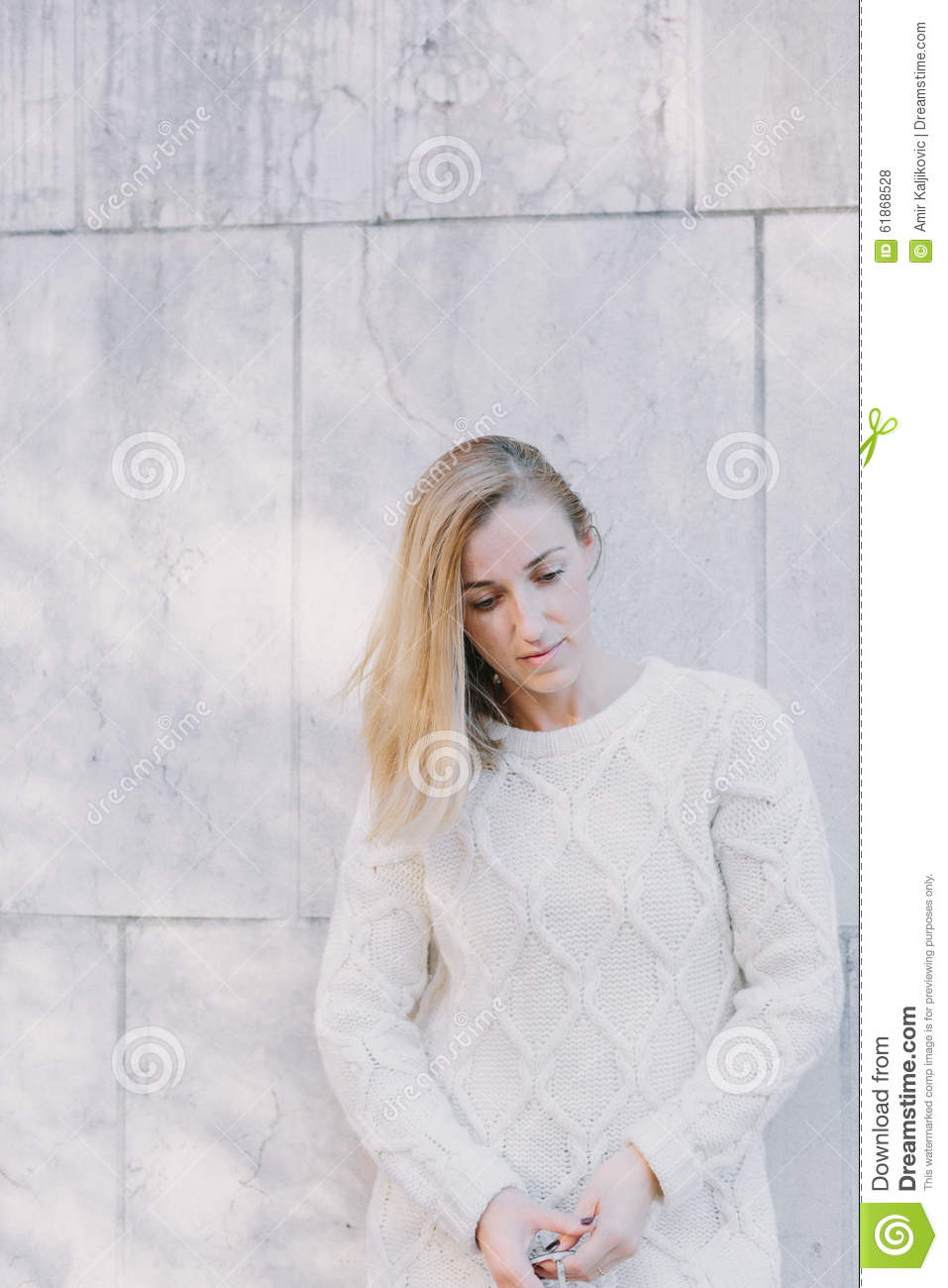 Dispirited Thoughtful Young Blond Woman Stock Photo Image