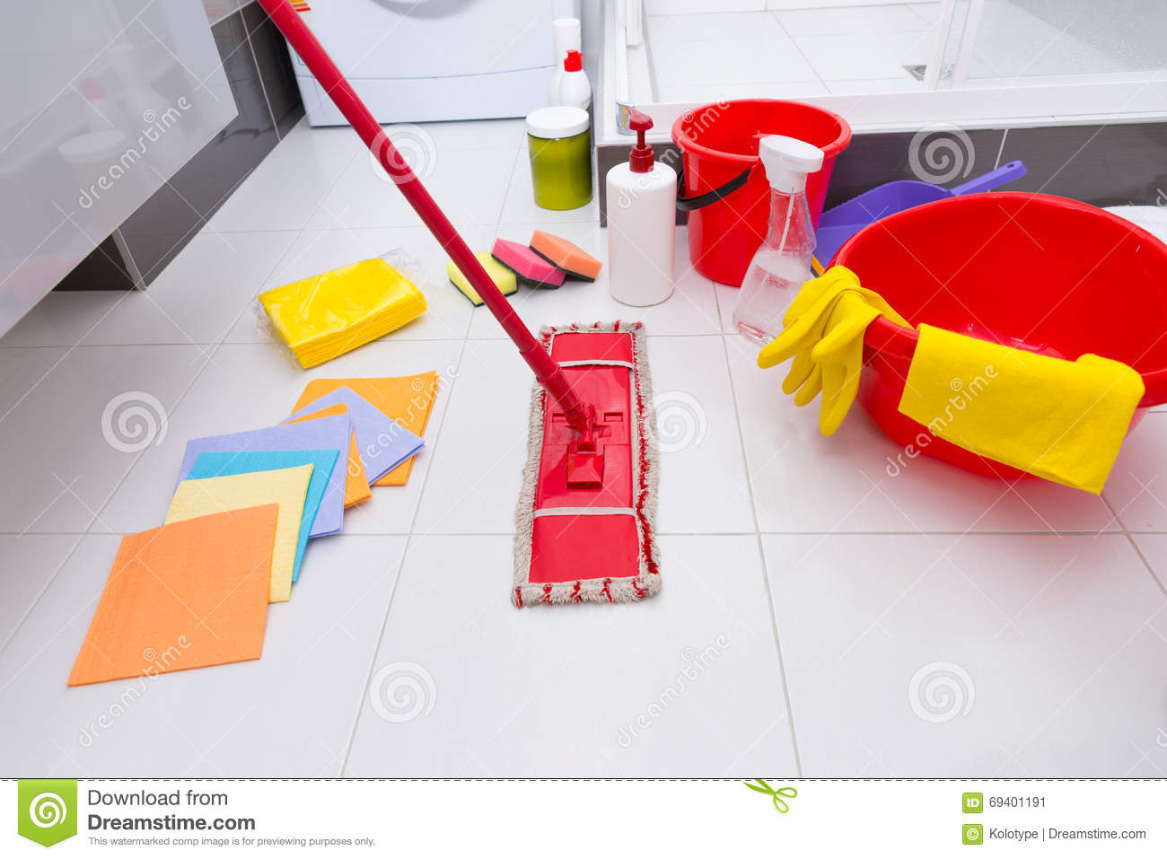 Display of assorted cleaning products on the floor stock for Bathroom floor cleaning products
