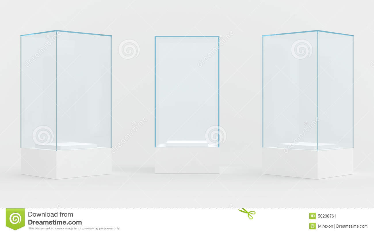 3d Exhibition Stand : Display case d render isolated on gray stock