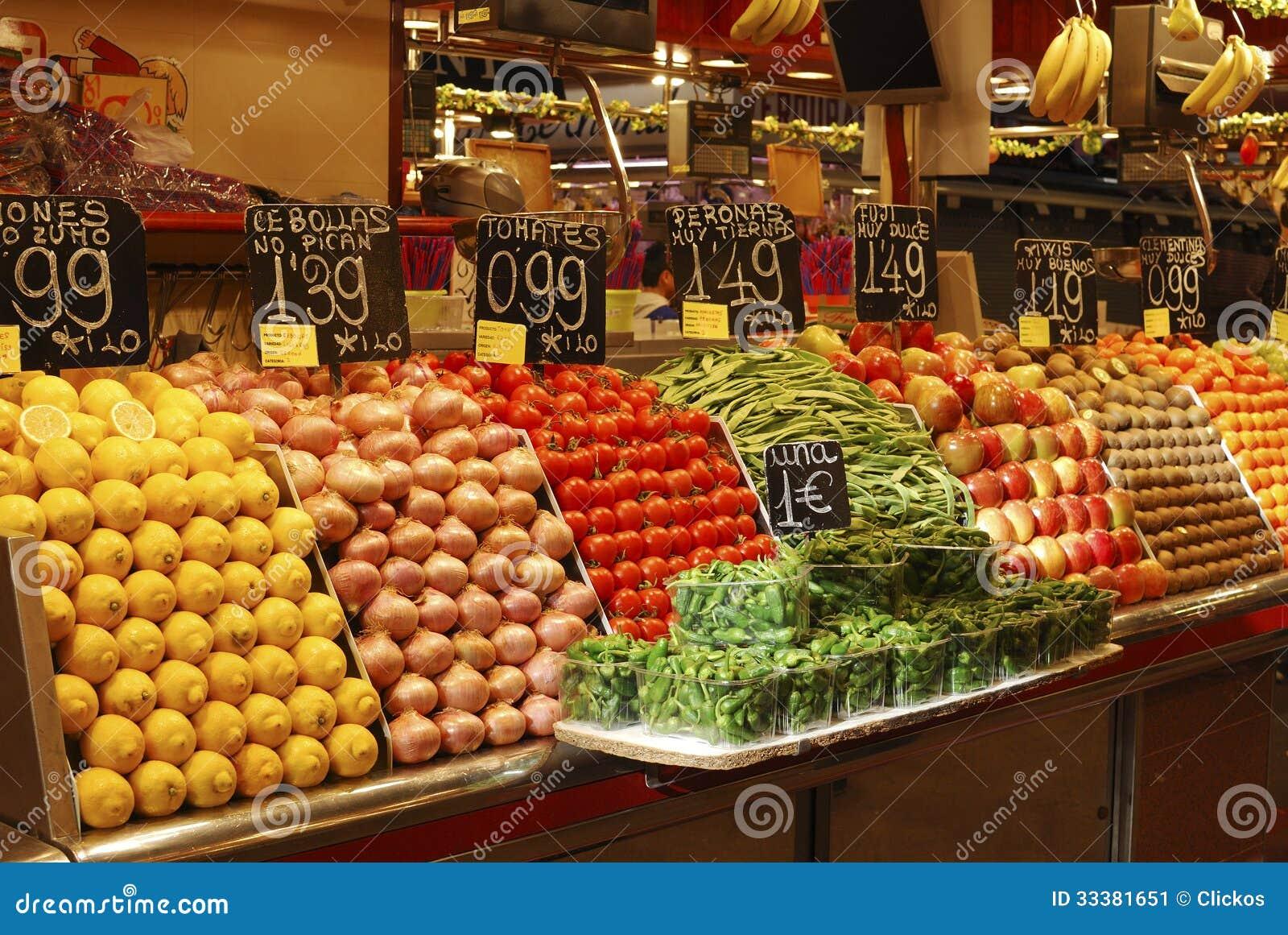 display fruit market stall barcelona spain stock images download