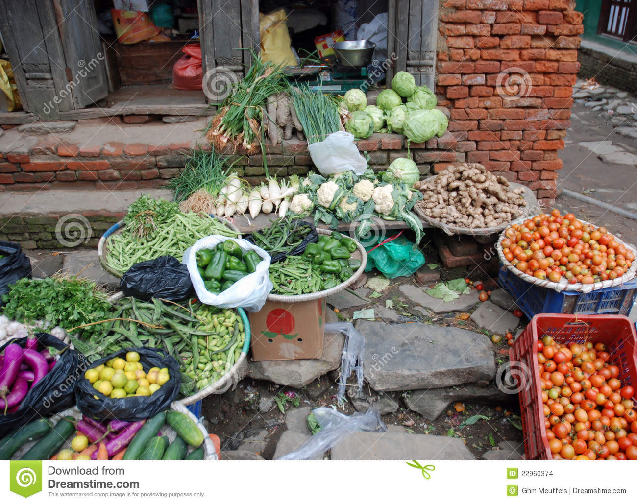 Display of local vegetables - fruit stall - Nepal