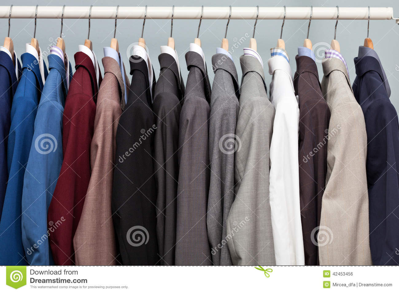 Display Of Man Suits In A Closet Stock Photo Image 42453456