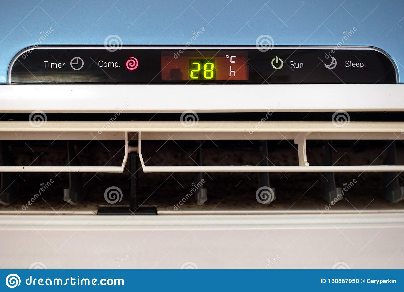 The Display Panel Of A Domestic Ac Or Air Conditioning Unit Showing A Temperature Of 28 Degrees Celsius Stock Photo Image Of Consumption Indoor 130867950