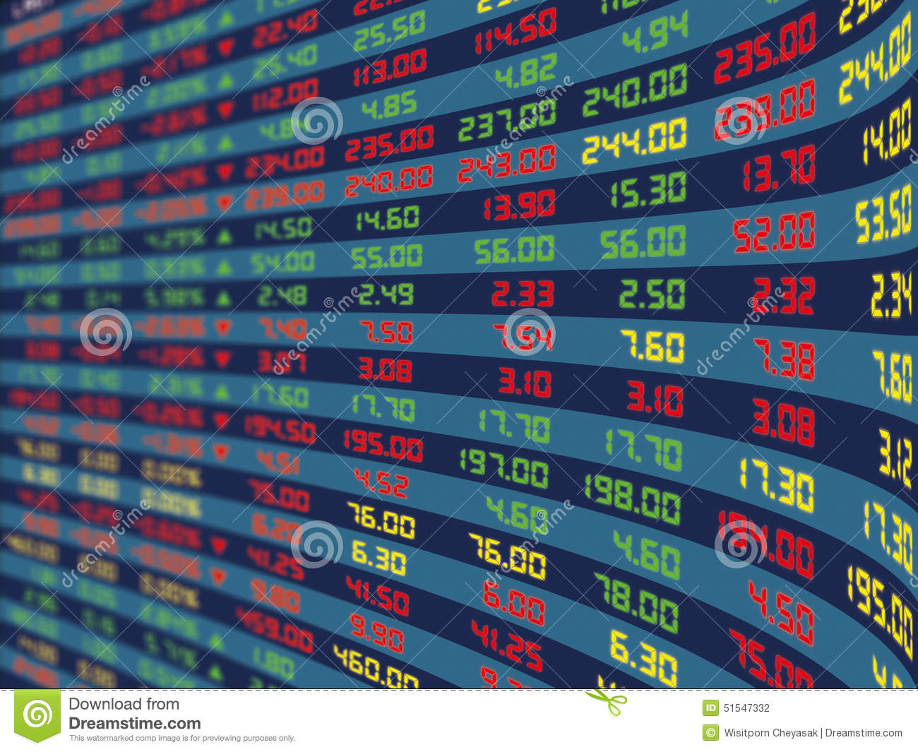 A Display Panel Of Daily Stock Market Stock Illustration