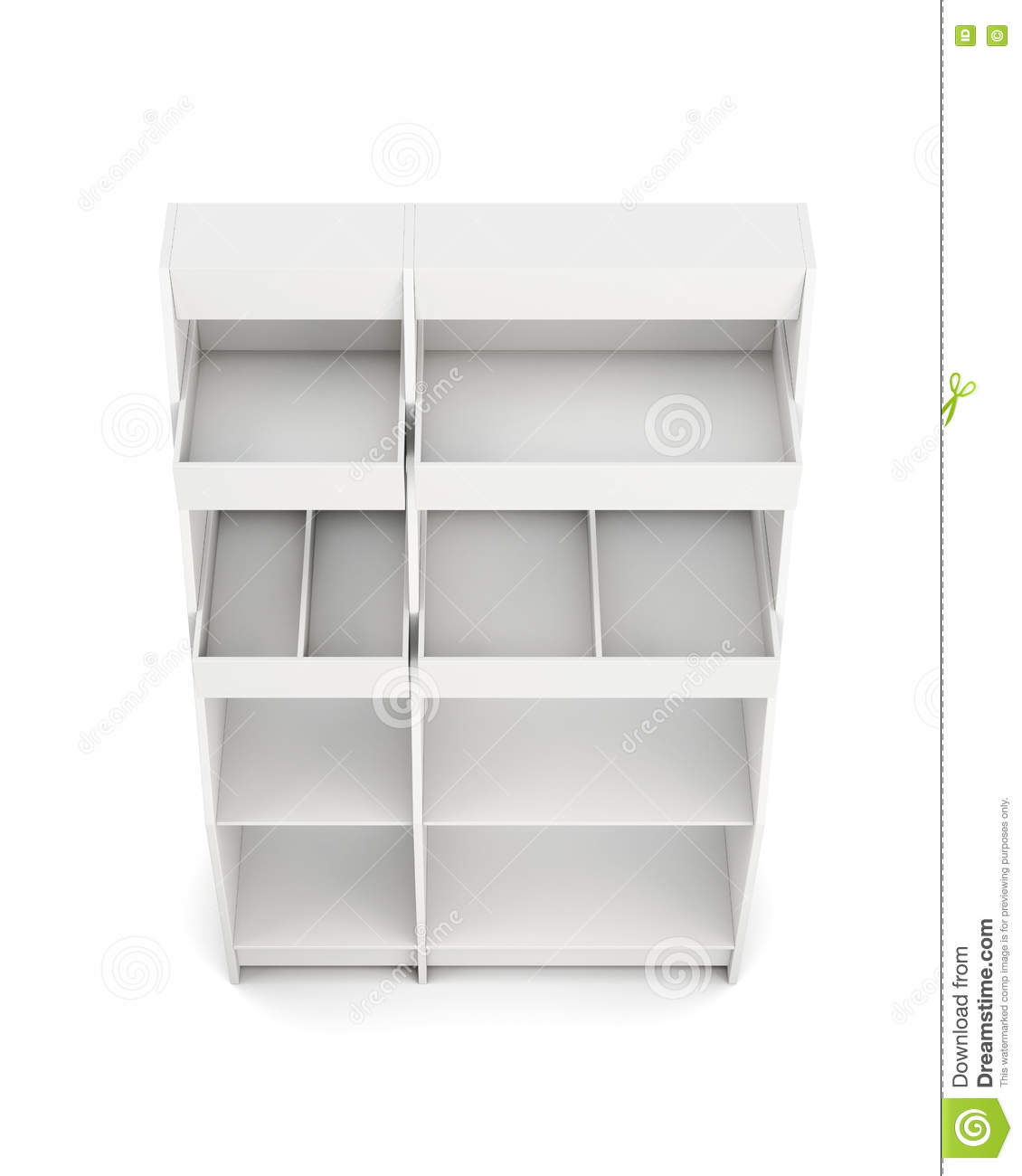 Display Rack With Shelves Isolated On White Background