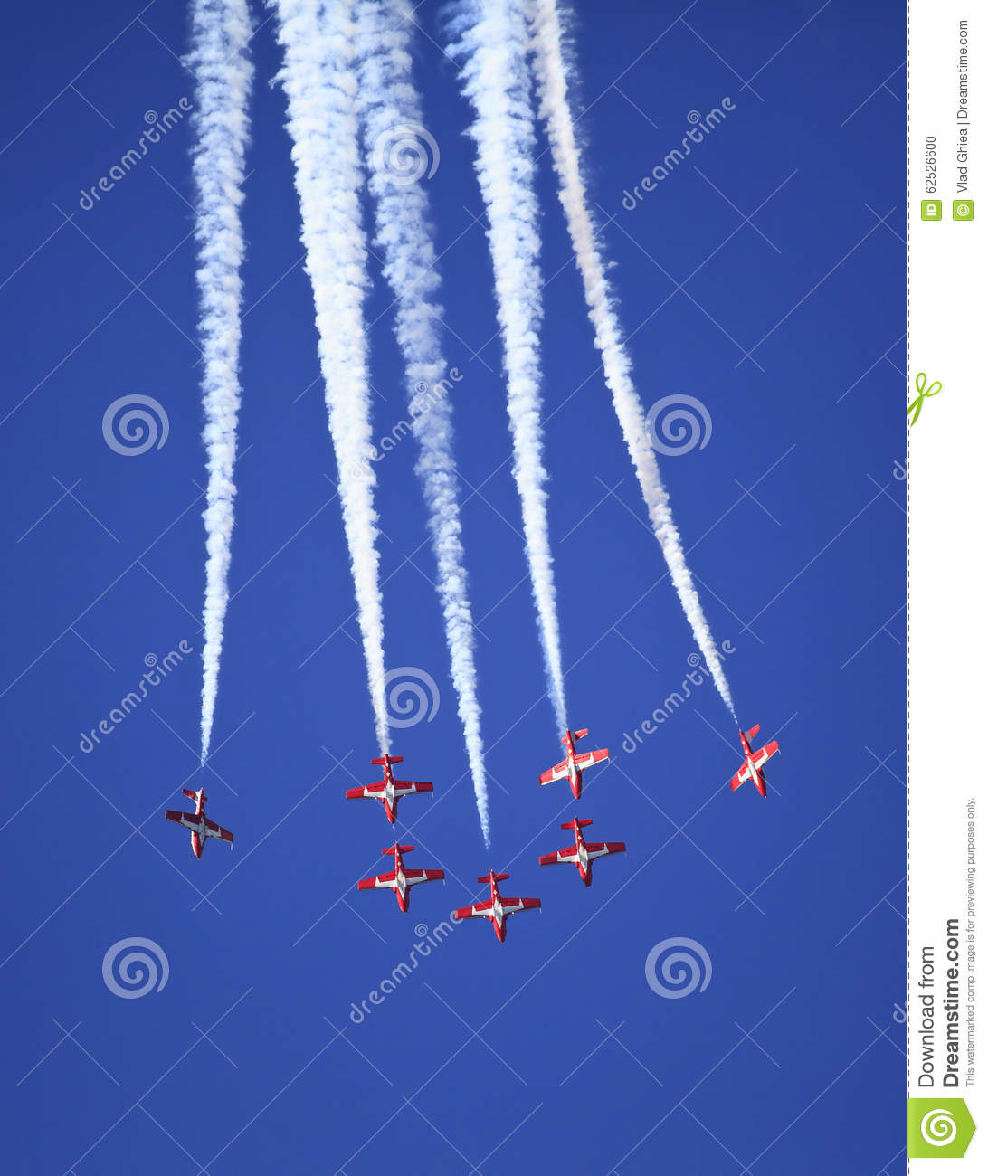 Display by the Snowbirds team at the Air Show event
