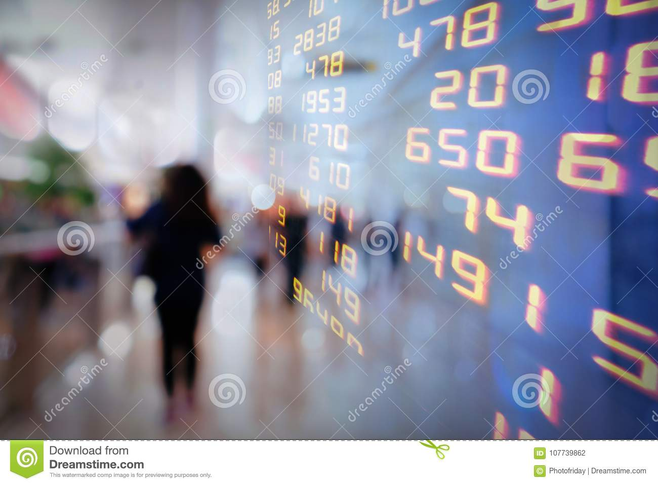 Display of Stock Market Exchanges or trading chart information background.