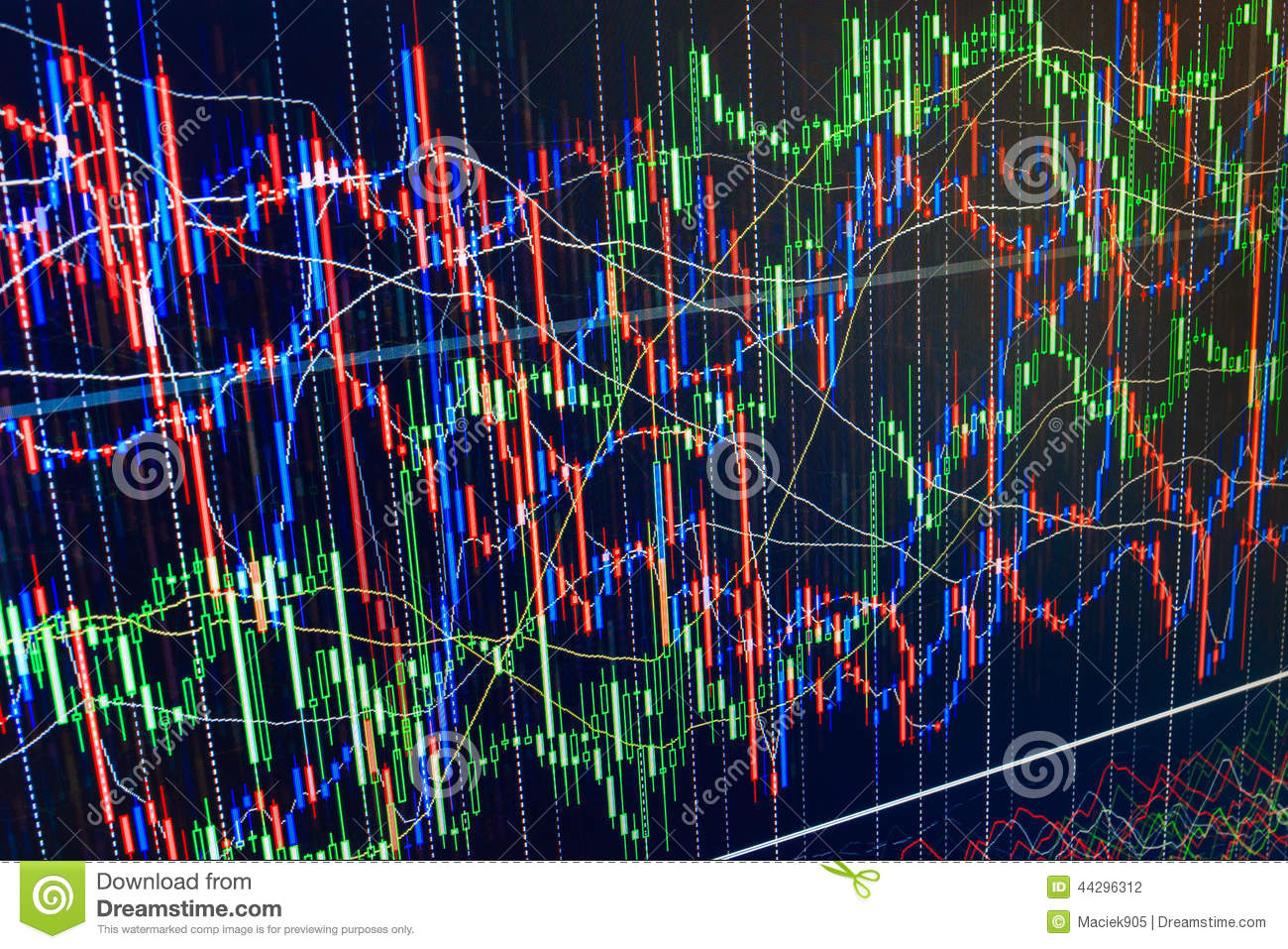 display of stock market quotes chart graph on m abstract