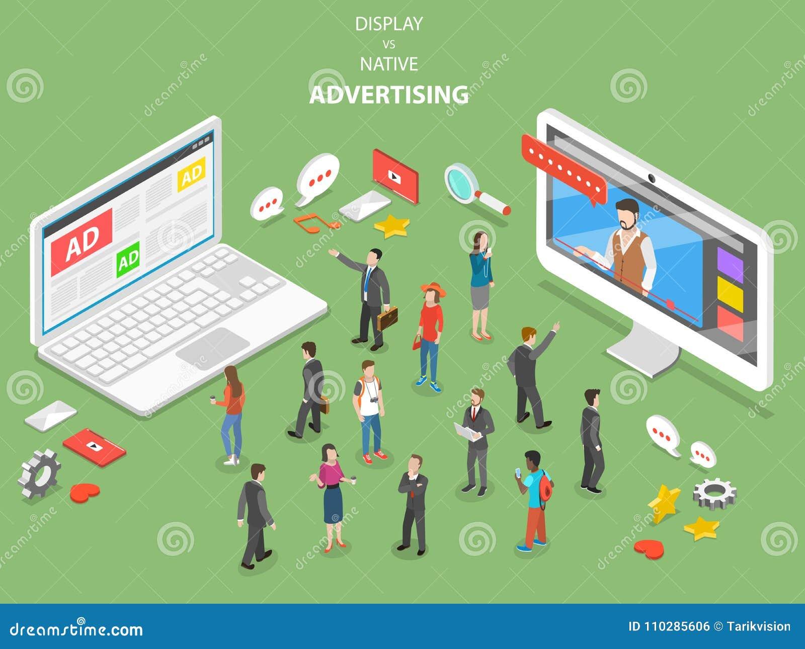 Display vs native advertising isometric vector.